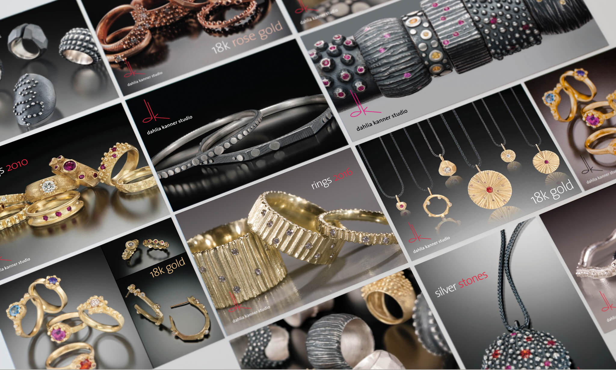 postcard designs for Dahlia Kanner's jewelry | Design by  ChrisAndAndy.com
