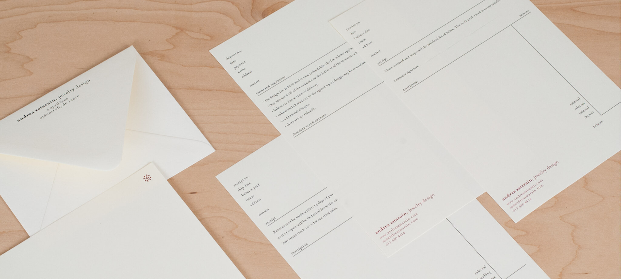 Letterhead and invoices for Andrea Zatarain | Design by  ChrisAndAndy.com