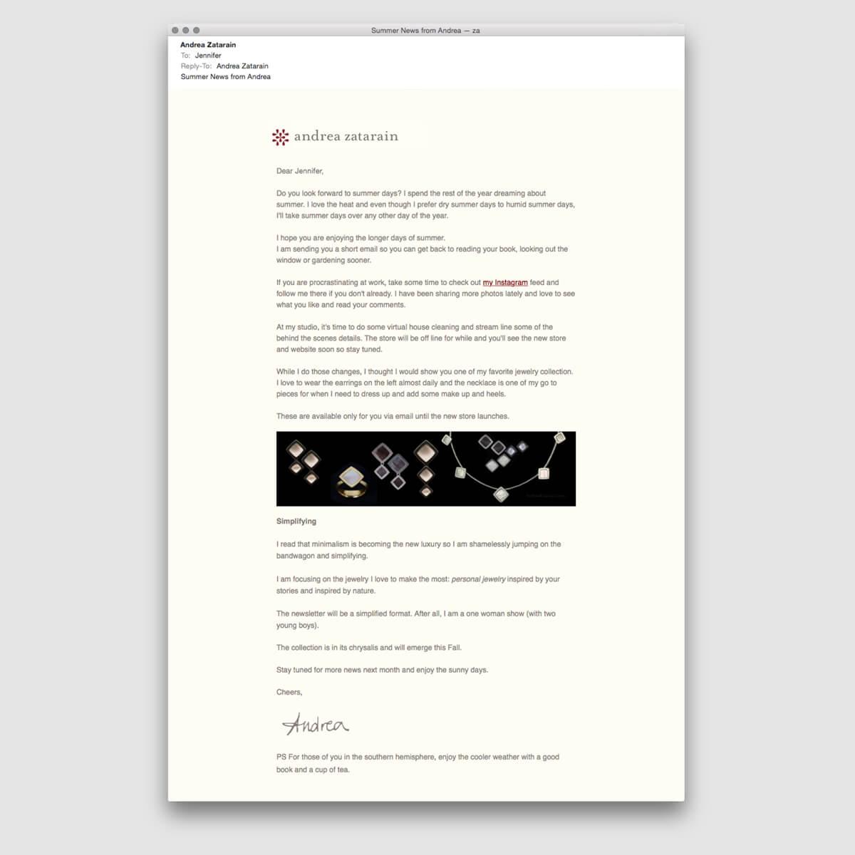 Newsletter template for Andrea Zatarain | Design by ChrisAndAndyDesign.com