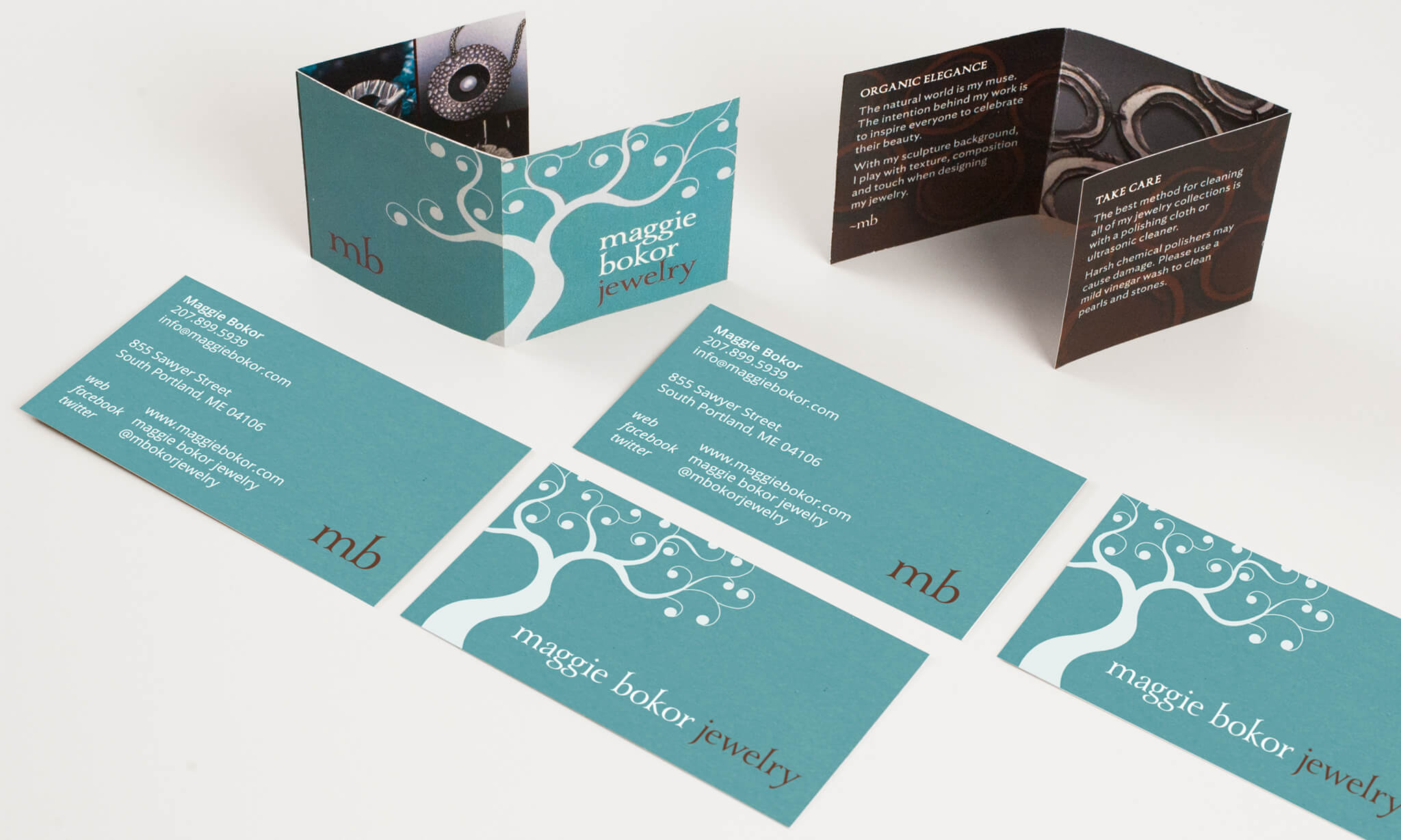 Custom business cards and trifold insert for Maggie Bokor Jewelry | Design by  ChrisAndAndy.com