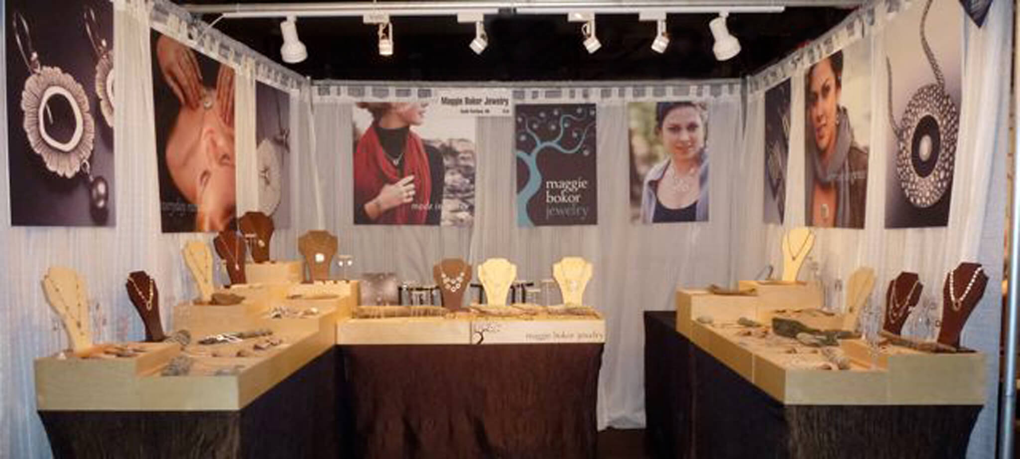 modular booth trays with logo for Maggie Bokor Jewelry | Design by ChrisAndAndyDesign.com
