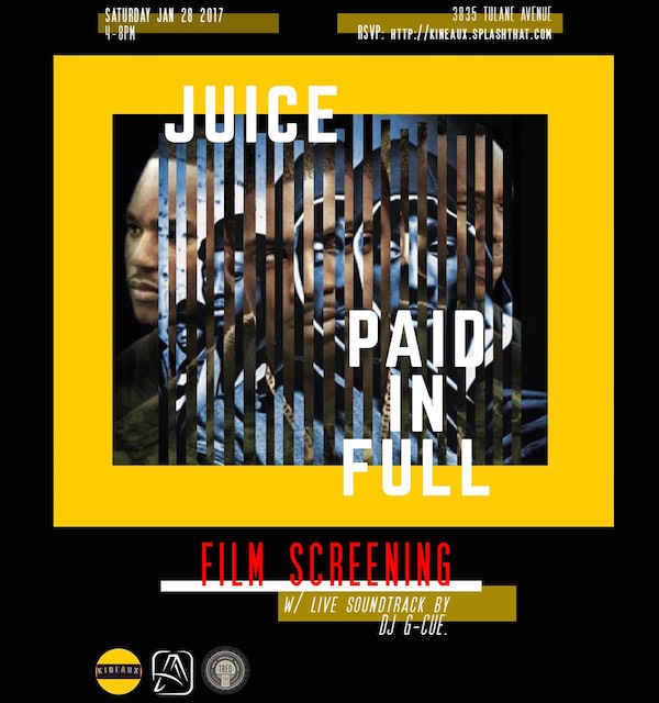 "(A)typical joined forces with  KINEAUX  to present the iconic films ""Paid in Full"" and ""Juice."" The double feature was screened at  Trèo  with a live soundtrack performance courtesy of one of NOLA's finest selectors:  DJ G-Cue."