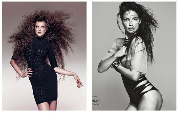 Left: Eniko Mihalik for Harper's Bazaar- Right: Adriana Lima for Harper's Bazaar