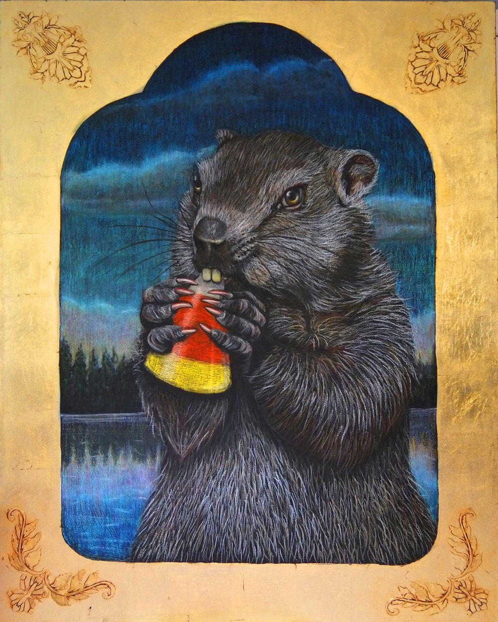 Beaver Eating Candy Corn
