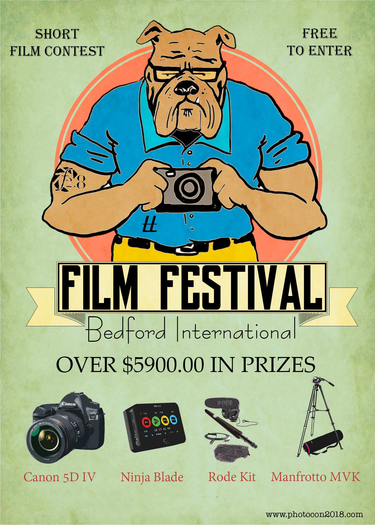 - 1. Submit an idea (any genre)for your masterpiece via Script, Storyboard or Video Interview for FREE2. Qualify as one of 15 finalists and Bedford Camera will loan you a Canon 5D MKIV 24-105 Kit and a complete Rode Mic System3. Create your masterpiece in its entirety in 96 hours (including BTS footage)4. Attend 2nd Annual Bedford international Film Festival October 27, 2018 at the Tower Hotel OKC5. Grand Prize Winner receives $5900.00 in Prizes including Canon 5D MK IV, Rode Microphone Kit, Atomos Ninja Blade and a Manfrotto Tripod.