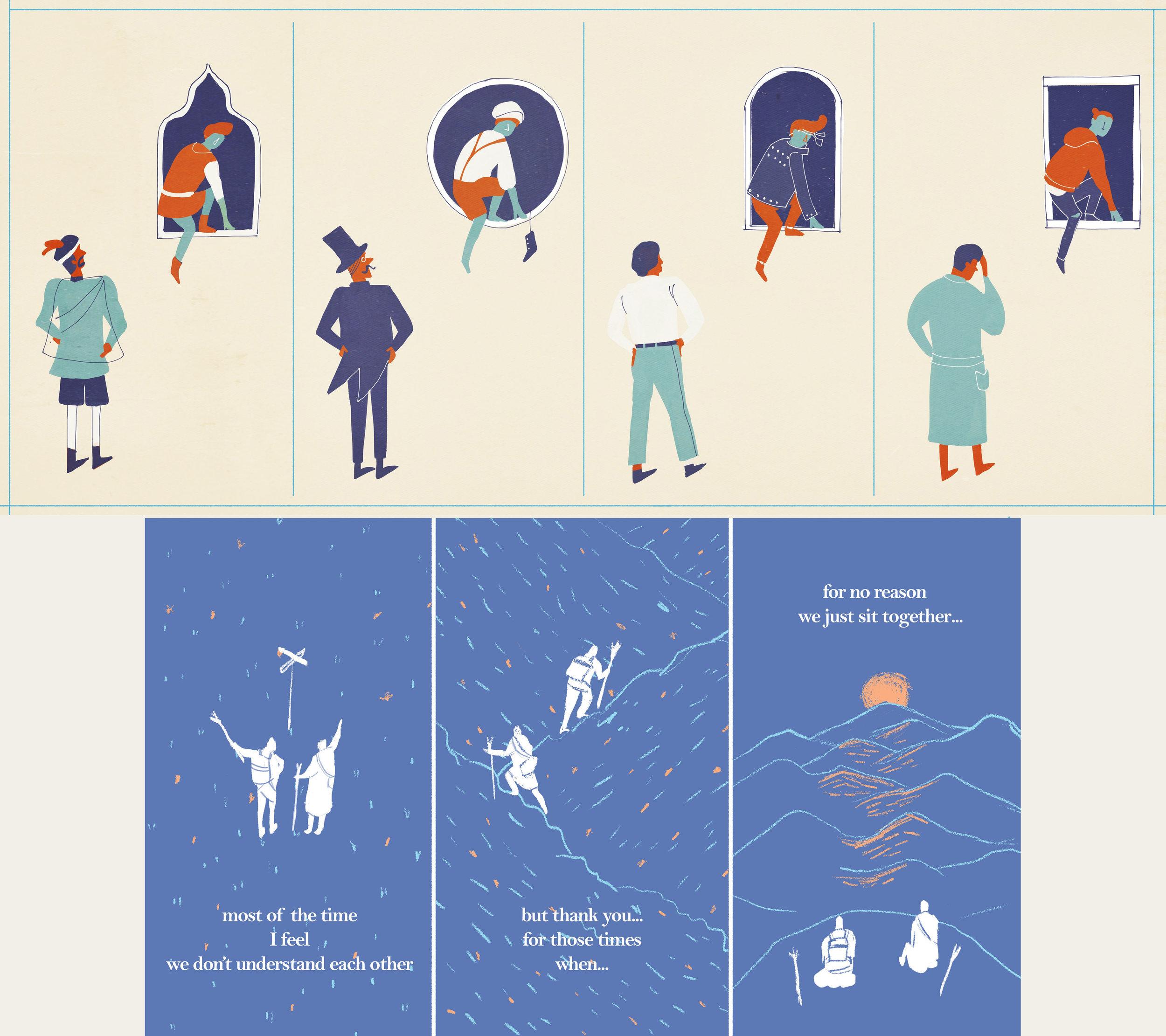 Storyboard Development showing Three Instagram Stories Concepts