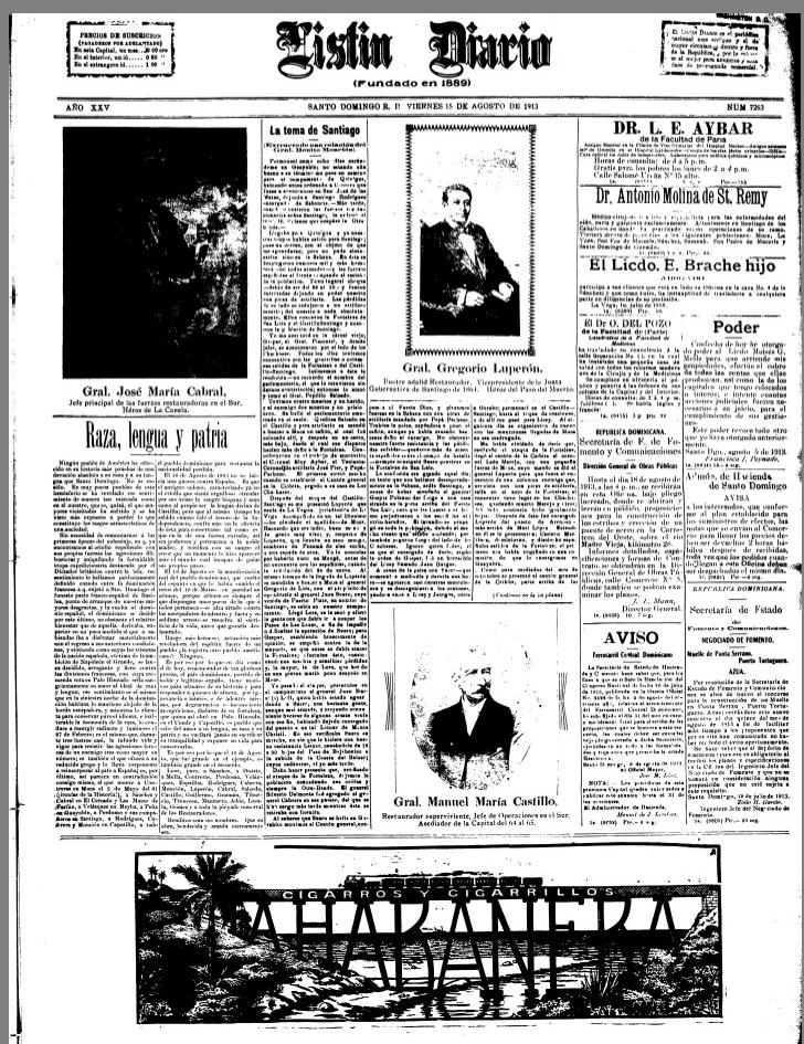 Portada del periodico Listín Diario   del 15 de agosto de 1915 dedicada a los heroes de la Restauración.   Foto: Archivo de periódicos Caribeños de la Universidad de Florida (dLOC)