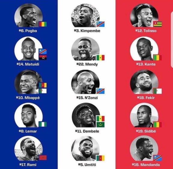 Members of France's World Cup team.