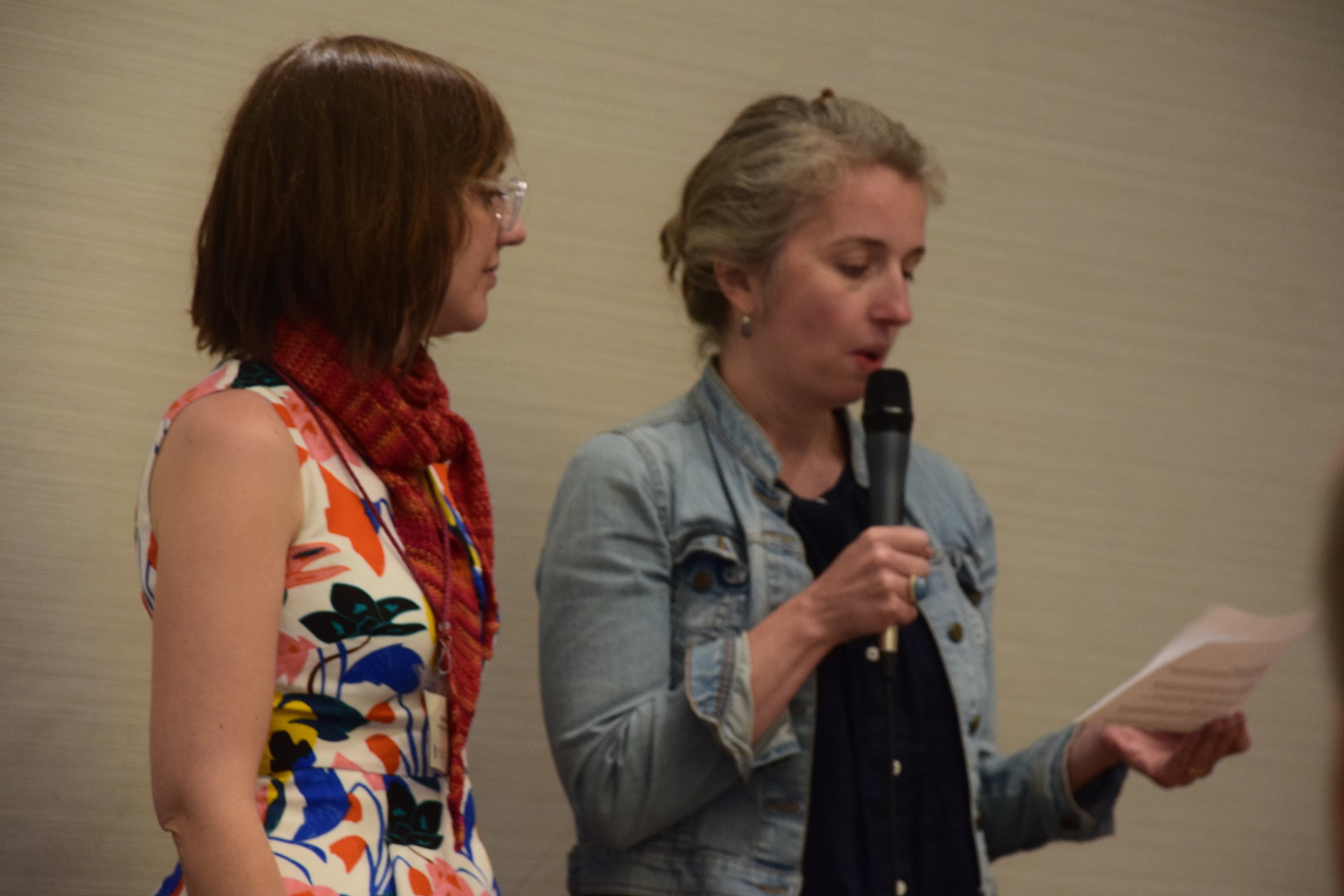 Scholarship committee co-chairs Jade Made and Jill Baron note this year's Scholarship recipients/Photo: ESENDOM.