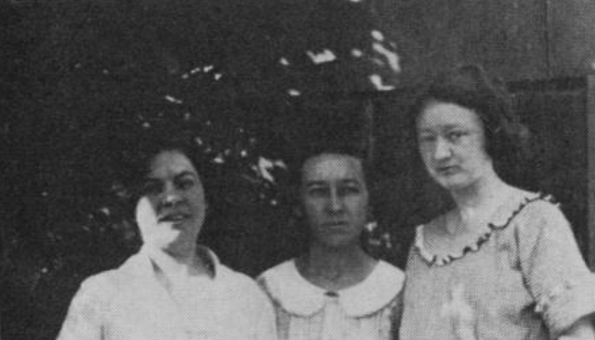 Micropaleontologists Alva Ellisor, Esther Applin, and Hedwig Kniker (left to right) in 1921. These three women proposed the concept of using microfossils to locate petroleum.