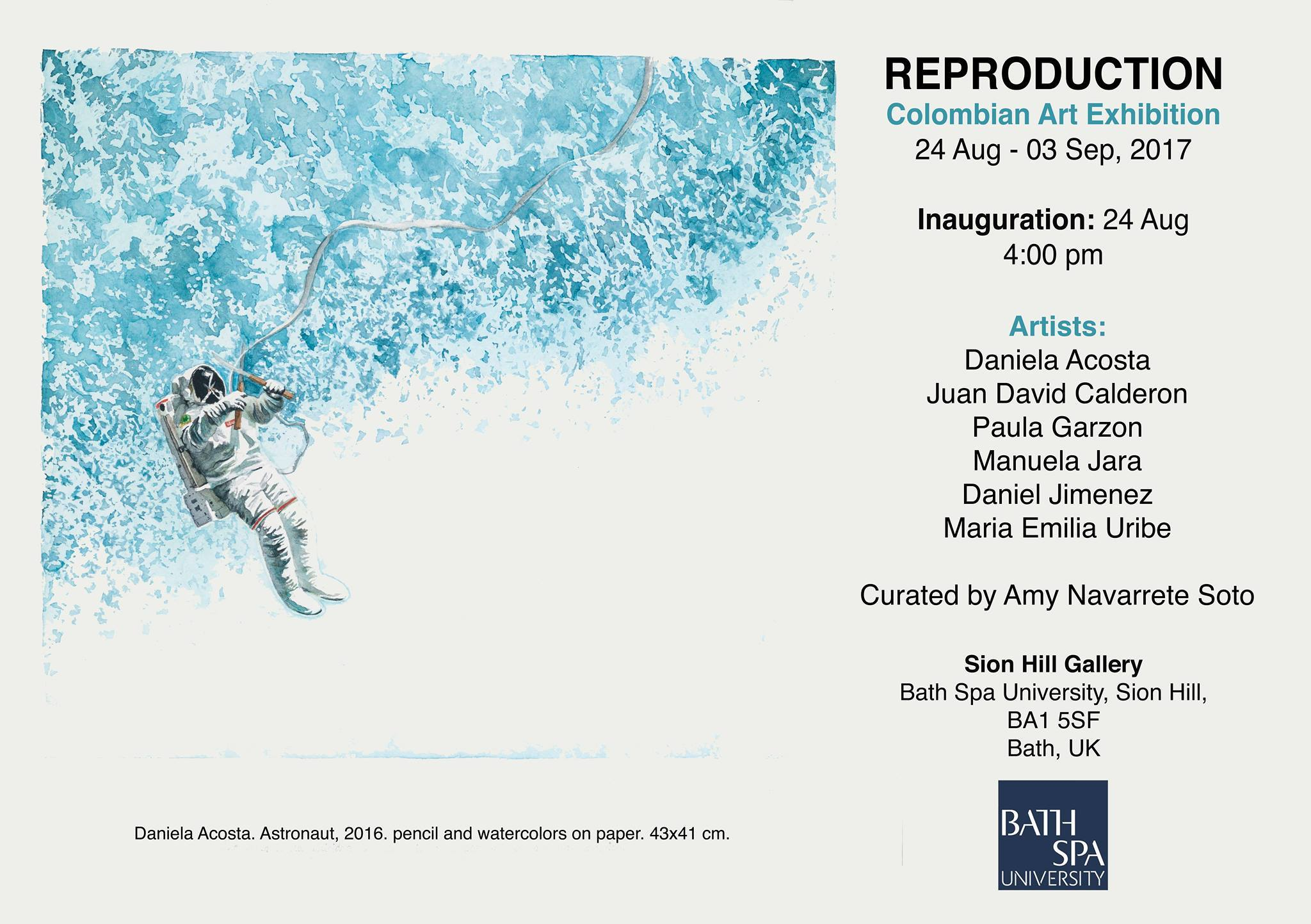 Reproduction: Colombian Art Exhibition. Bath, UK Sion HIll Gallery. 2017. Curator: Amy Navarrete