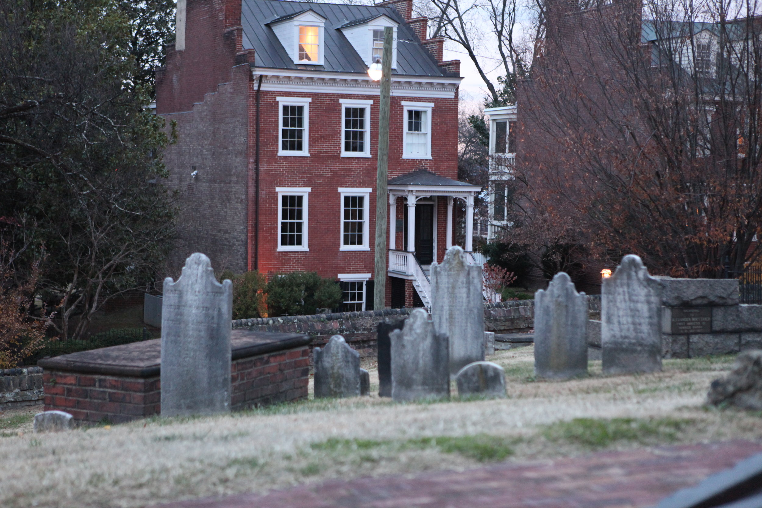 Headstones in the southwest corner, across from the Elmira Shelton house. Elmira Shelton was Edgar Allan Poe's first and last love.