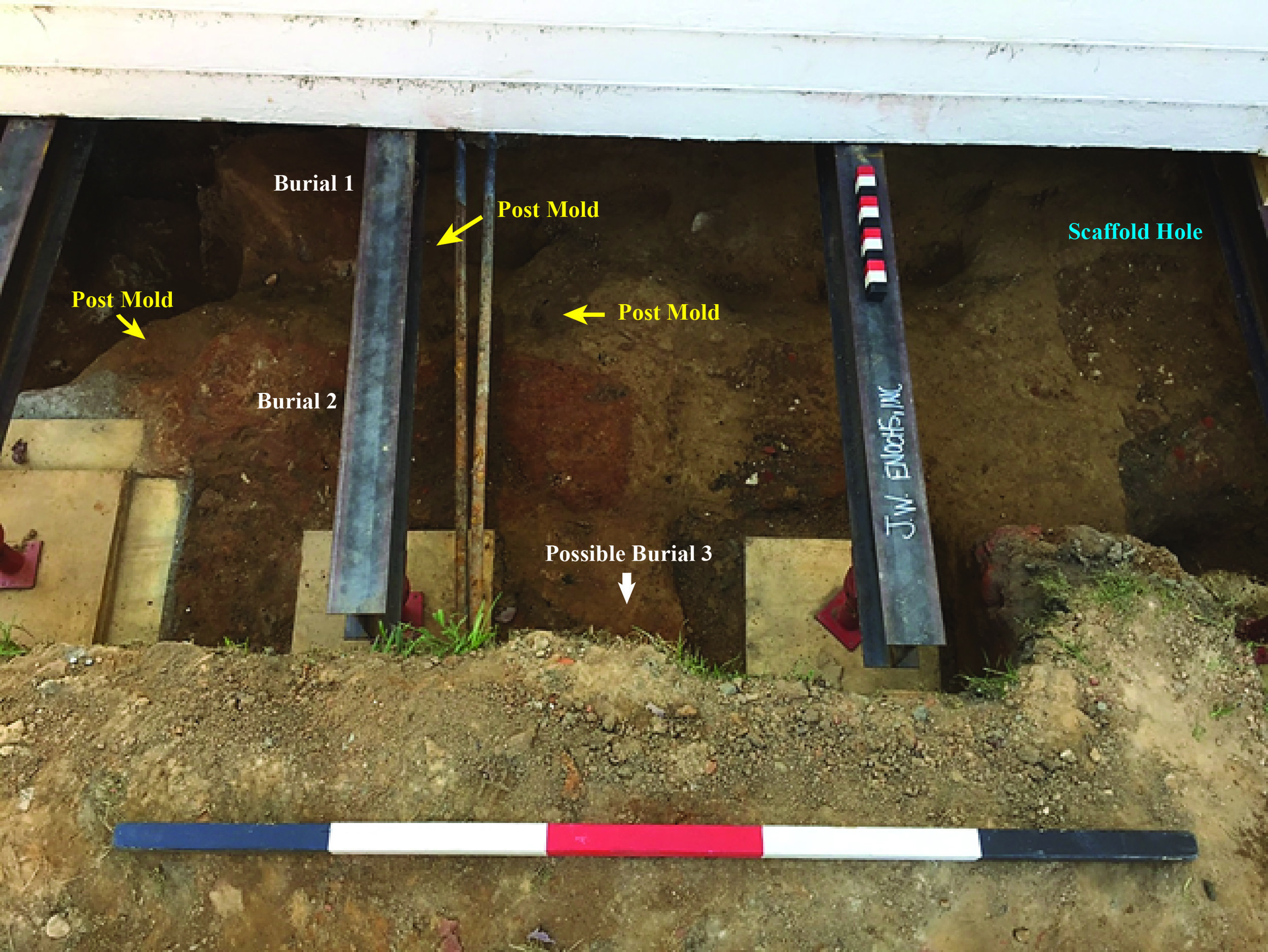 Photograph shows the placement of the burials and evidence of post holes. The position of the post alongside Burial 2 strongly suggests the grave was marked by a wooden grave rail.