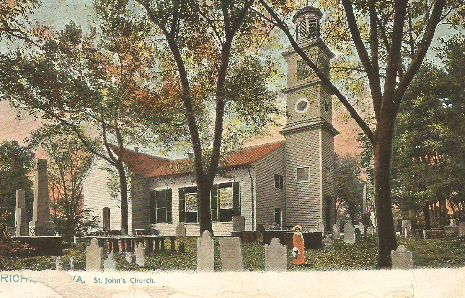 Postcard, c. 1906, shows a standing seam metal roof. Courtesy of St. John's Church Archives