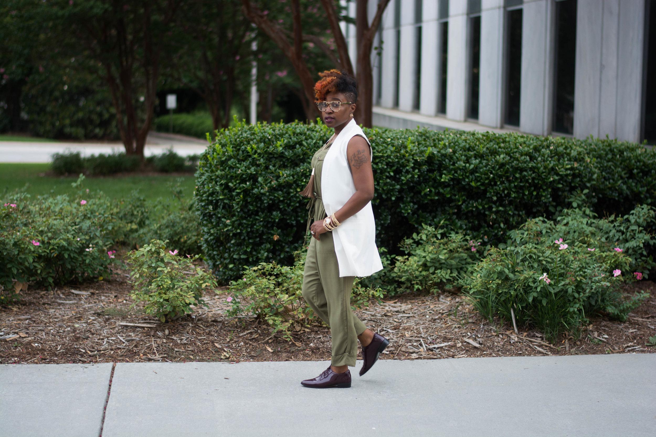 Melodie Stewart, The Style Klazit, Target Vest, Justfab Olive Jumpsuit, Shoedazzle Wine oxfords, Atlanta wardrobe style blogger