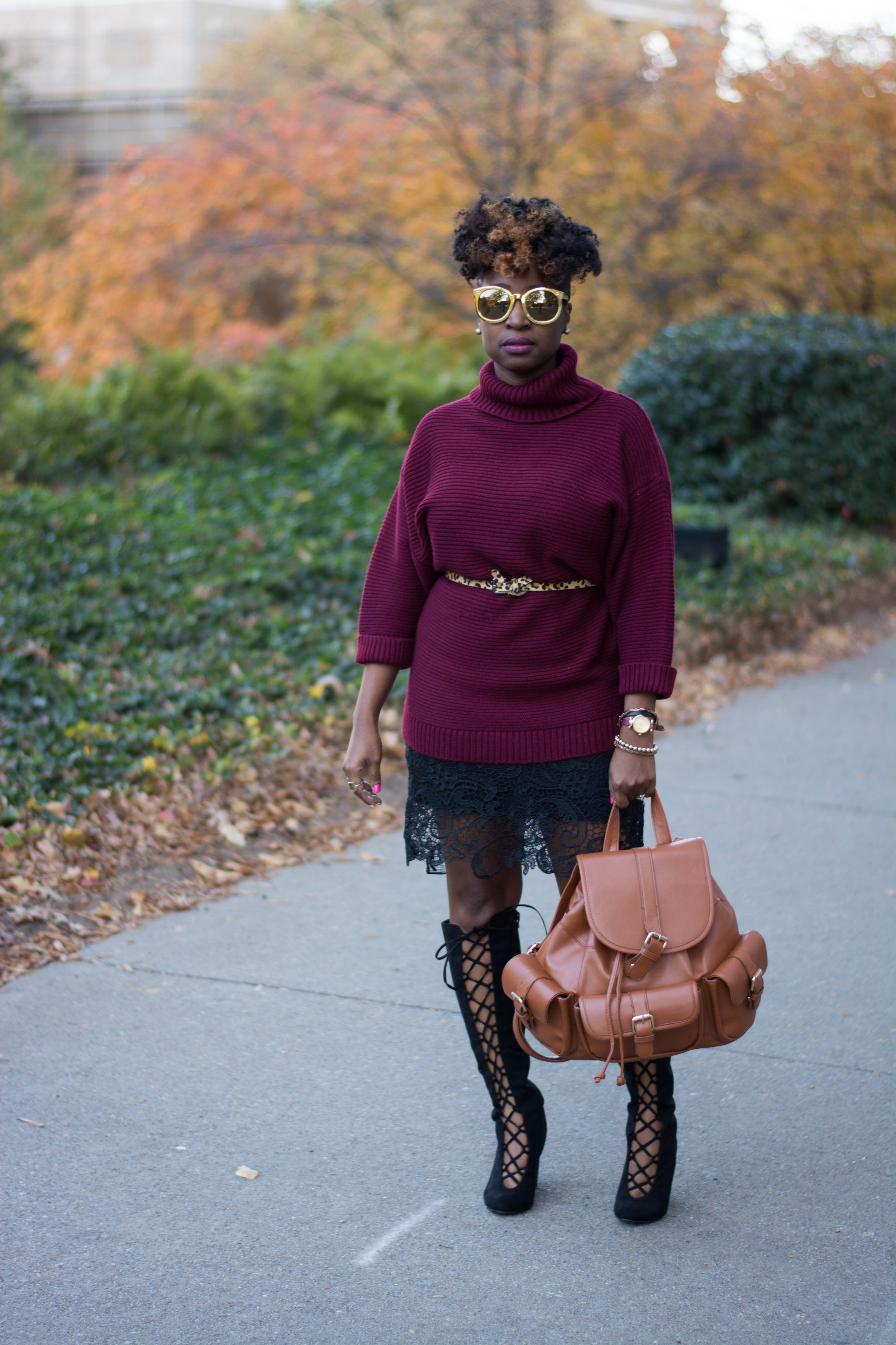 Melodie Stewart, The Style Klazit, Black boots, Backpack, Burgundy sweater, Atlanta stylist, Atlanta style blogger