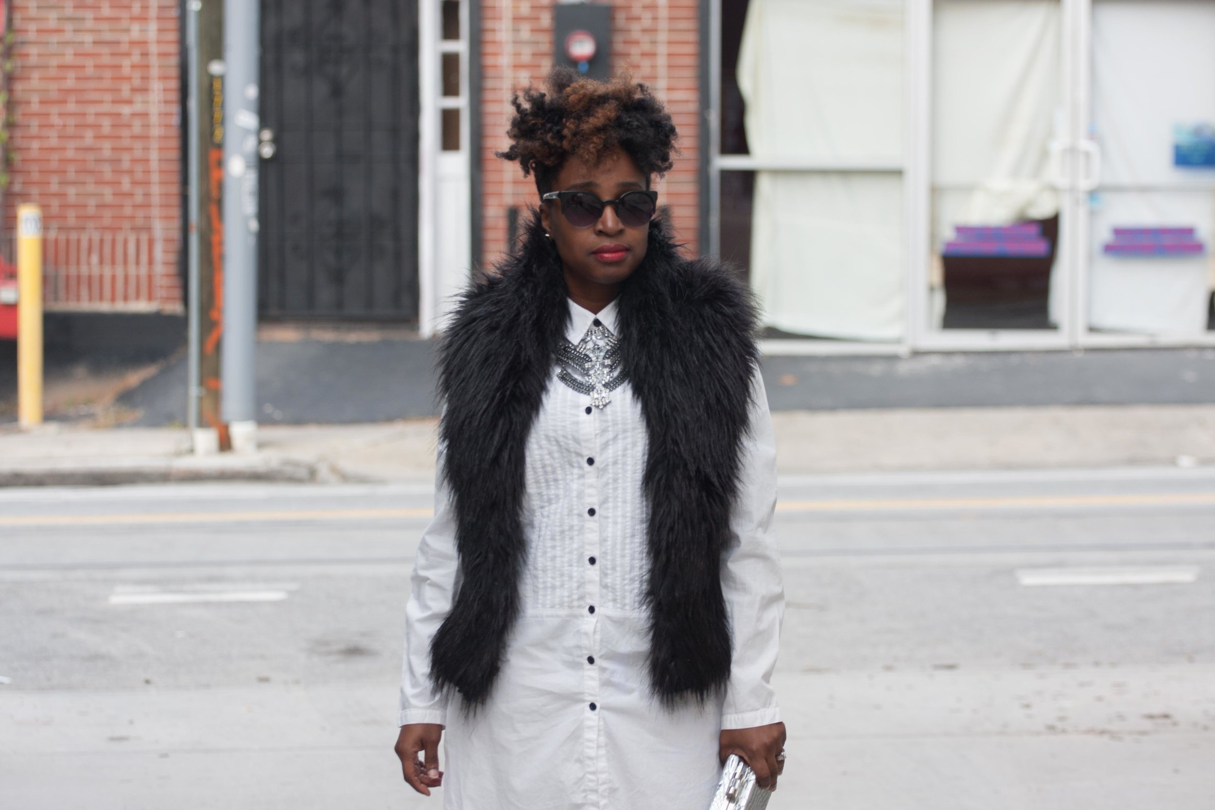 Melodie Stewart, The Style Klazit, Shirt Dress, Faux Vest, Atlanta style blogger, Atlanta stylist, shoedazzle