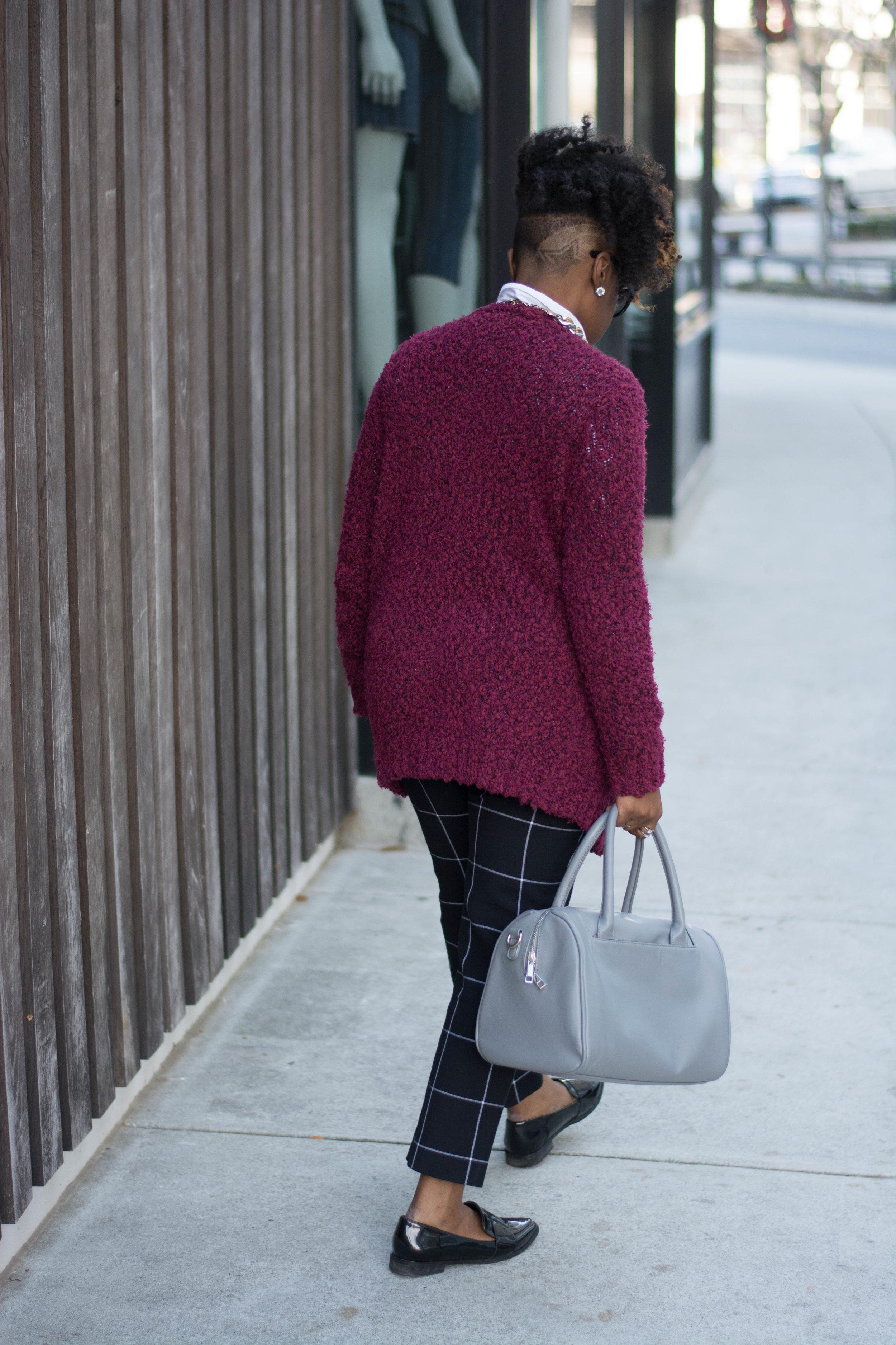 Melodie Stewart, The Style Klazit, Atlanta style blogger, Atlanta wardrobe stylist, windowpane print pants street style, black loafers street style, Atlanta street style