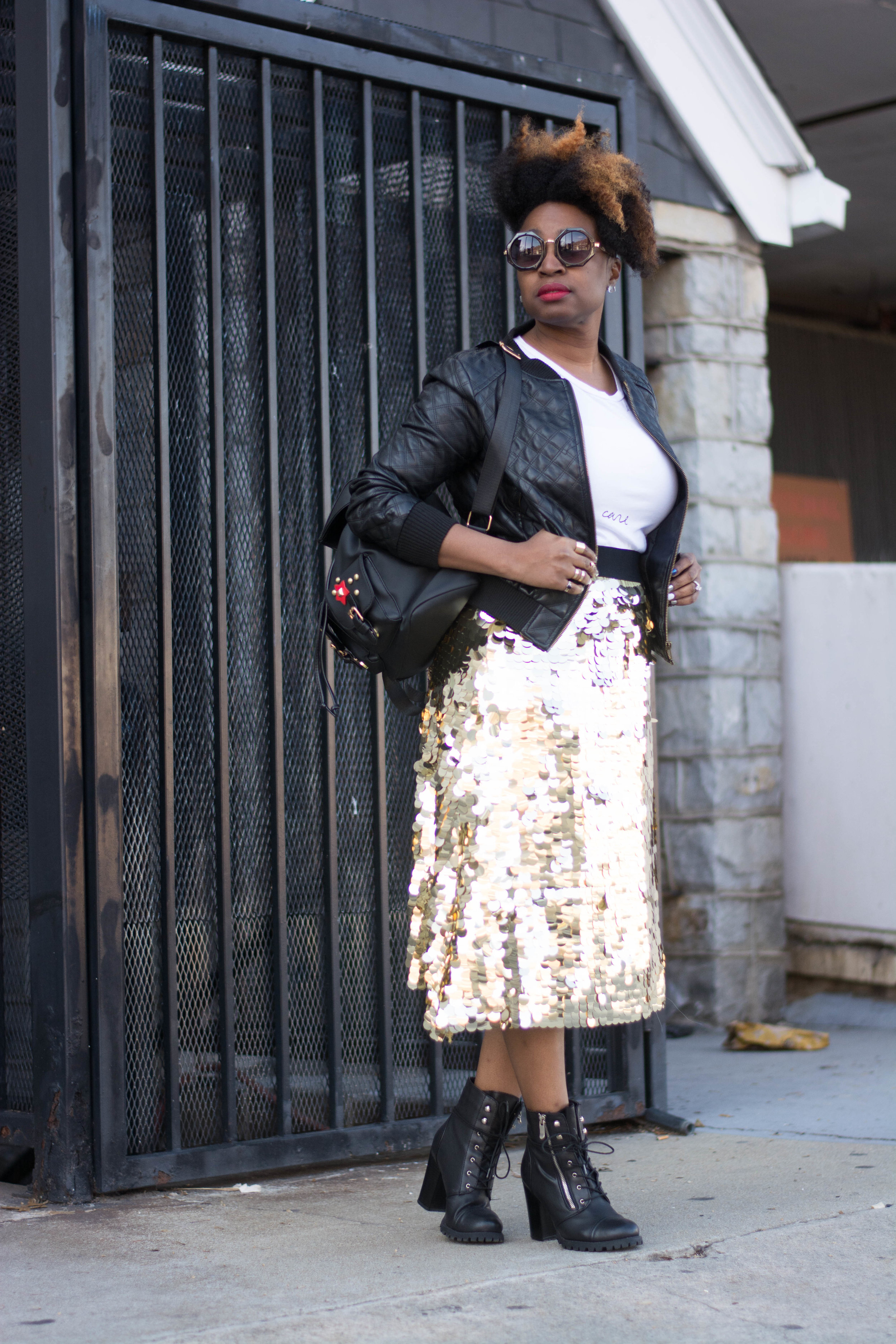 Melodie Stewart, The Style Klazit, Atlanta style blogger, Shein sequin skirt, shoedazzle booties, Forever21 moto jacket