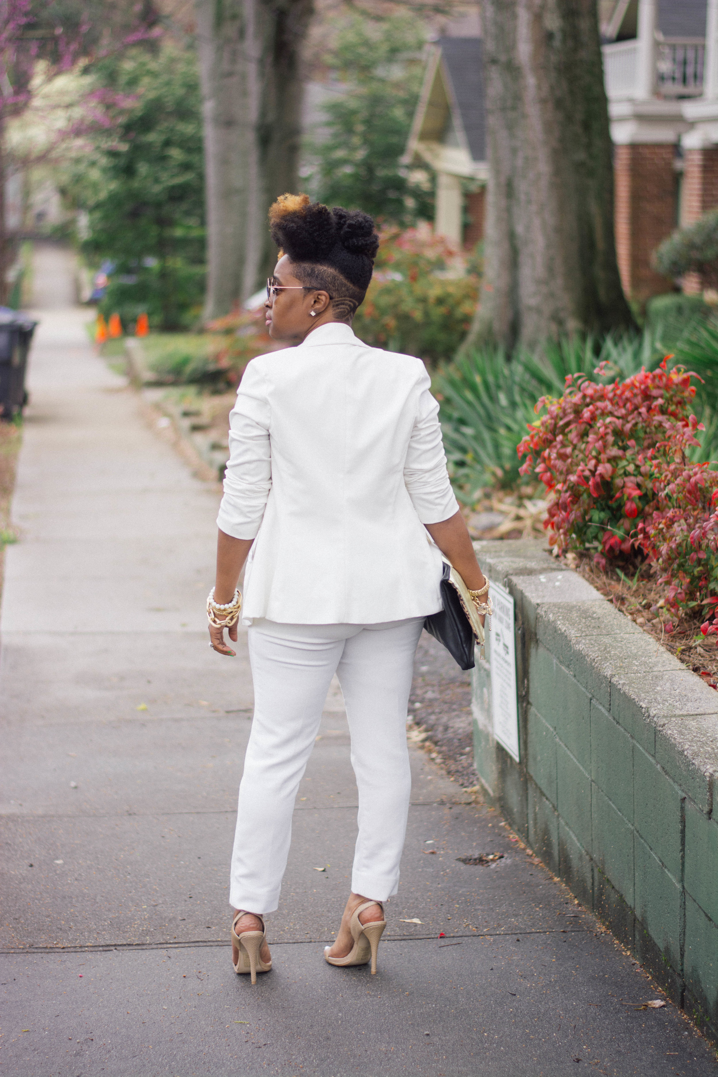 Melodie Stewart, The Style Klazit, Cream pant suit, H&M pants, Atlanta style blogger, streetstyle