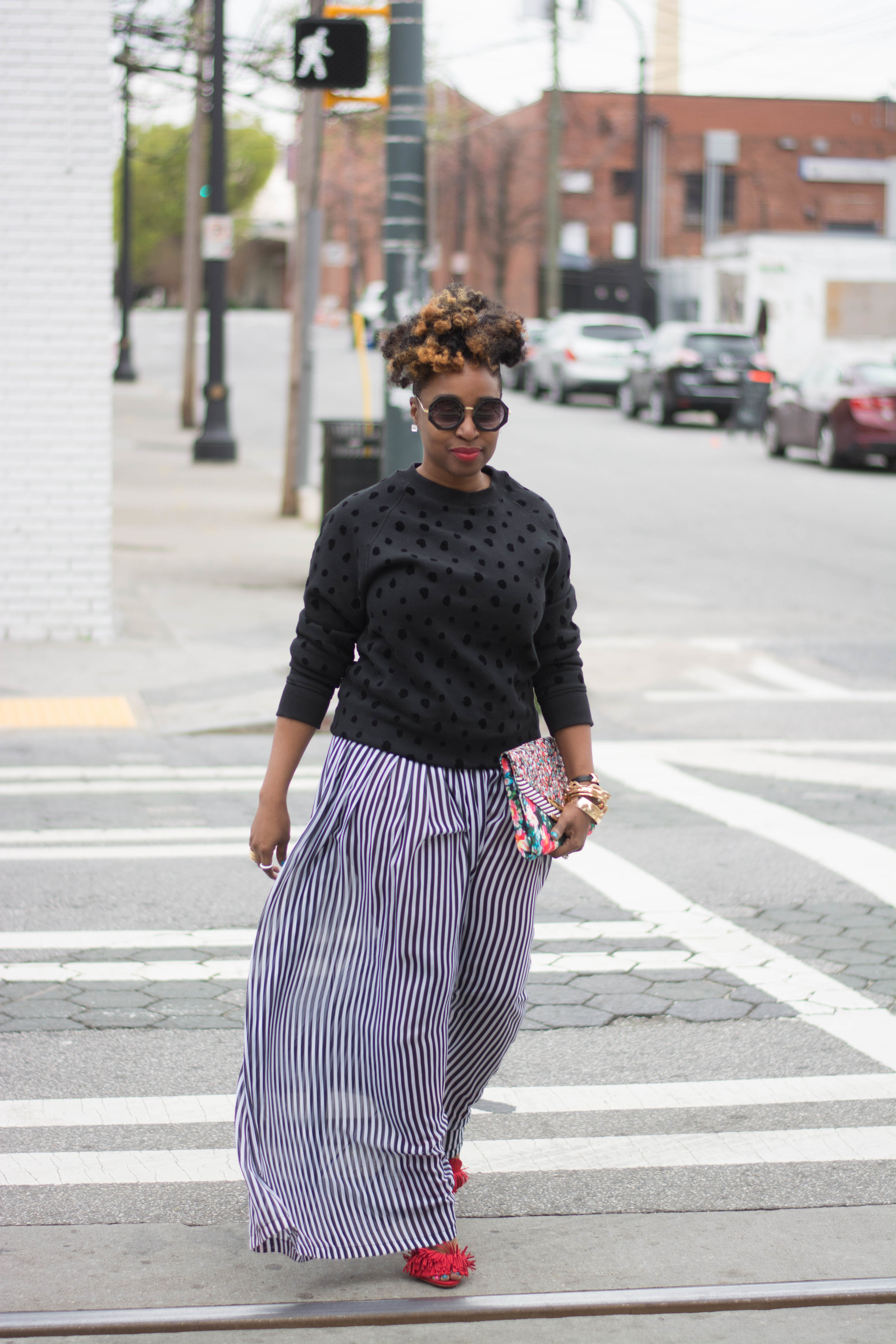 Melodie Stewart, The Style Klazit, sheer palazzo pants, Atlanta style blogger, street style, black and white street style
