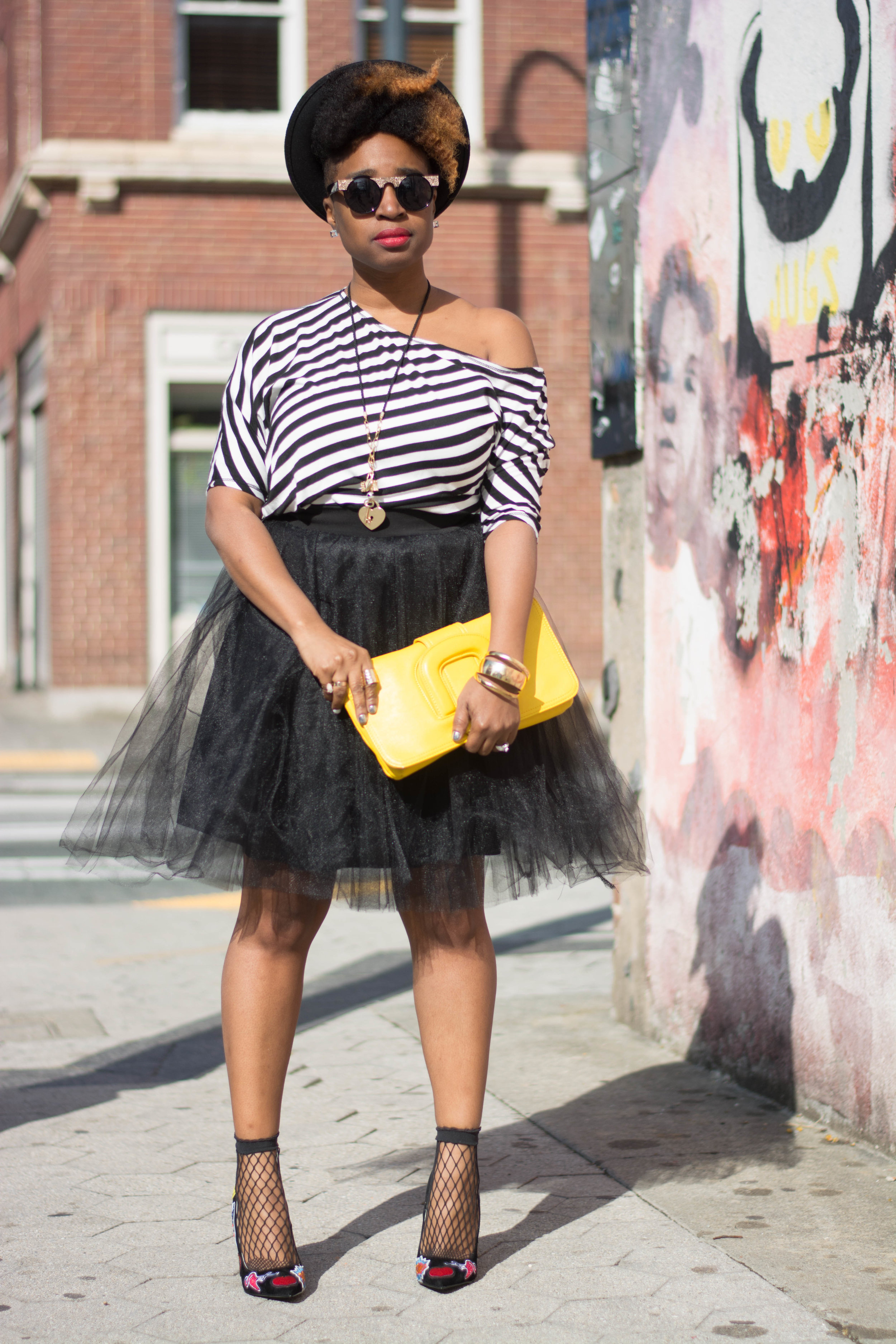 Melodie Stewart, The Style Klazit, Tulle skirt, off the shoulder top, patch heels, Atlanta style blogger, fishnet socks