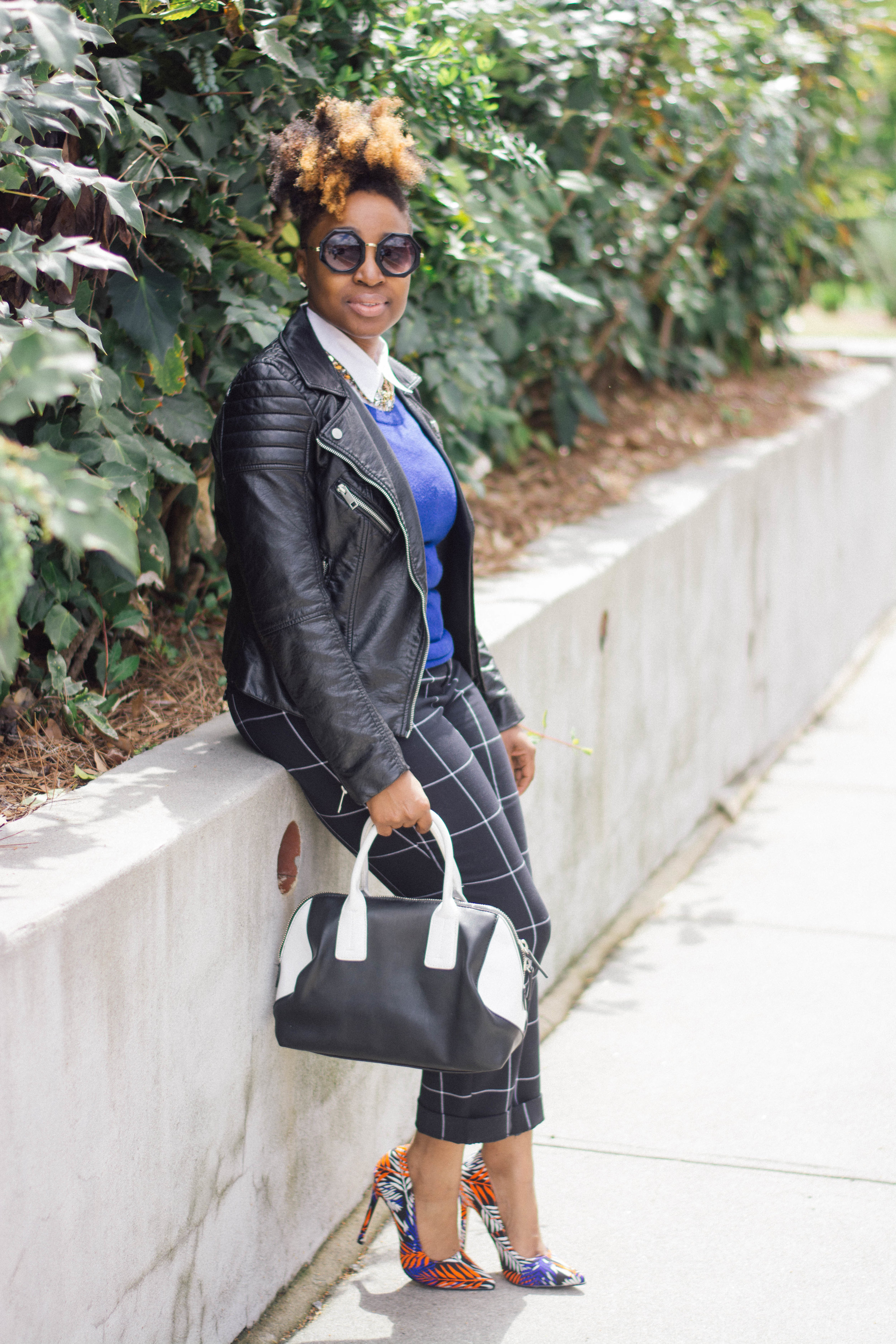 Melodie Stewart, The Style Klazit, Atlanta Style blogger, windowpane print, black moto, street style