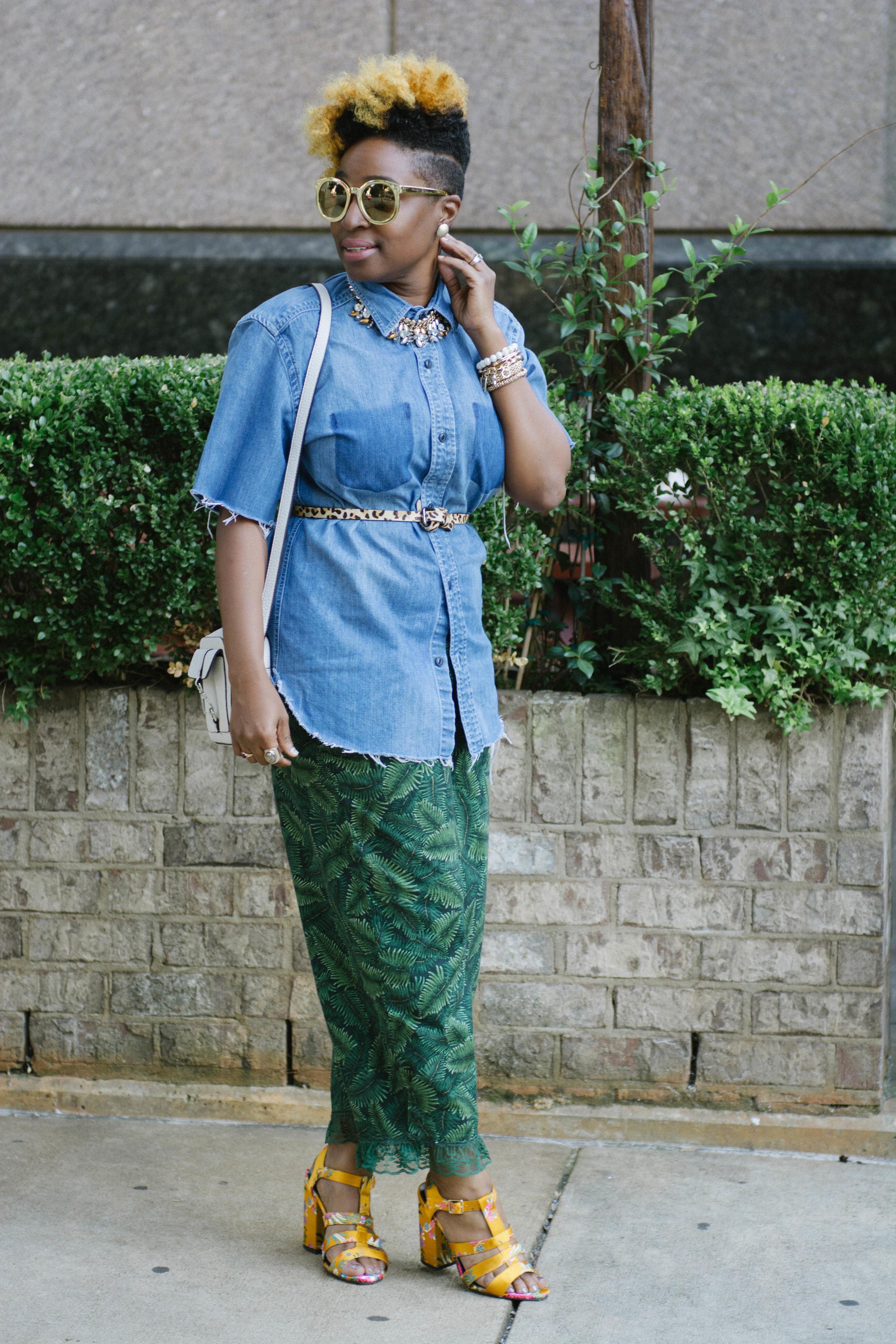 Melodie Stewart, The Style Klazit, Leaf print pants, DIY denim top, Atlanta Style blogger