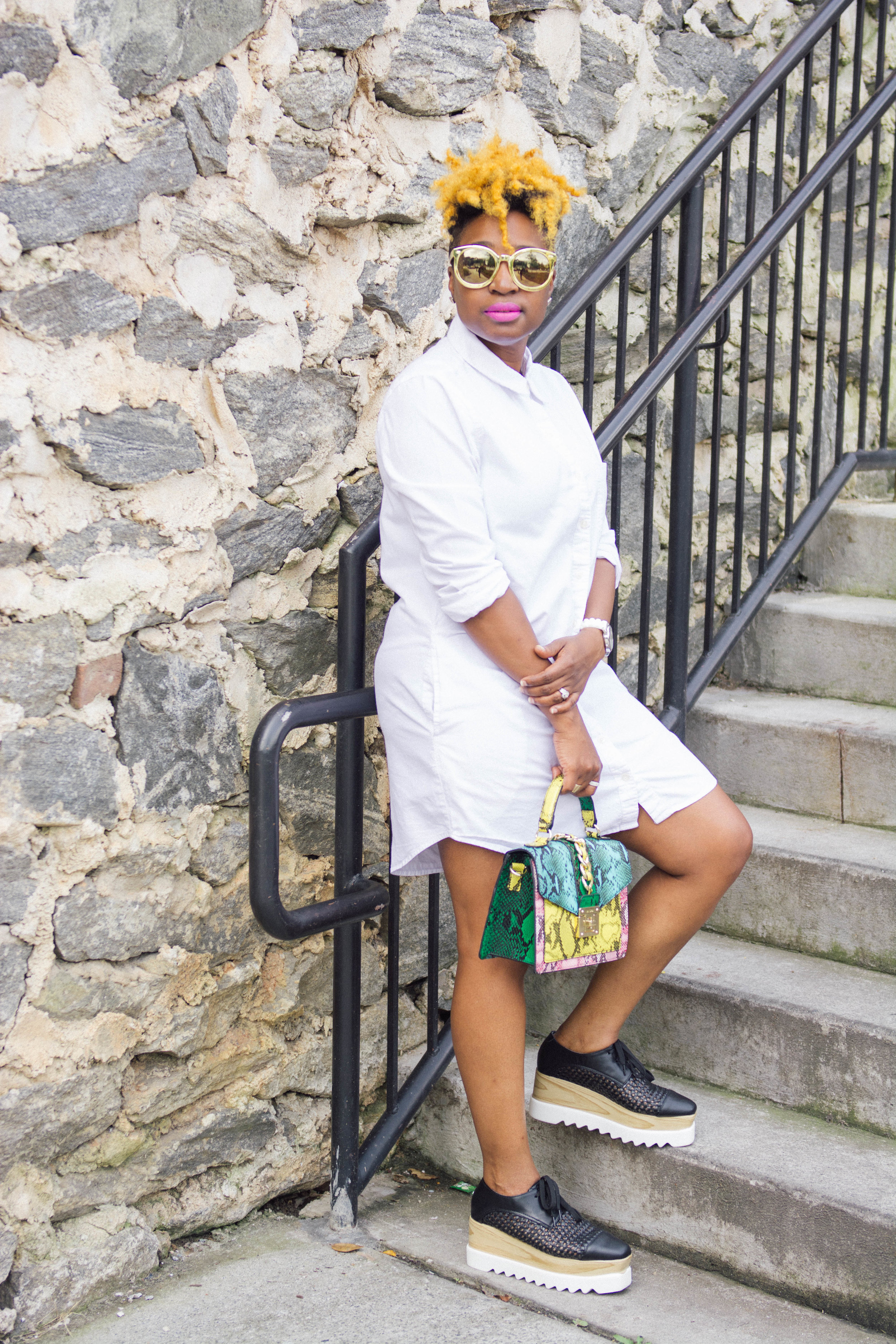 The Style Klazit, White Shirt Dress, Flatform, Aldo Handbag, Atlanta style blogger