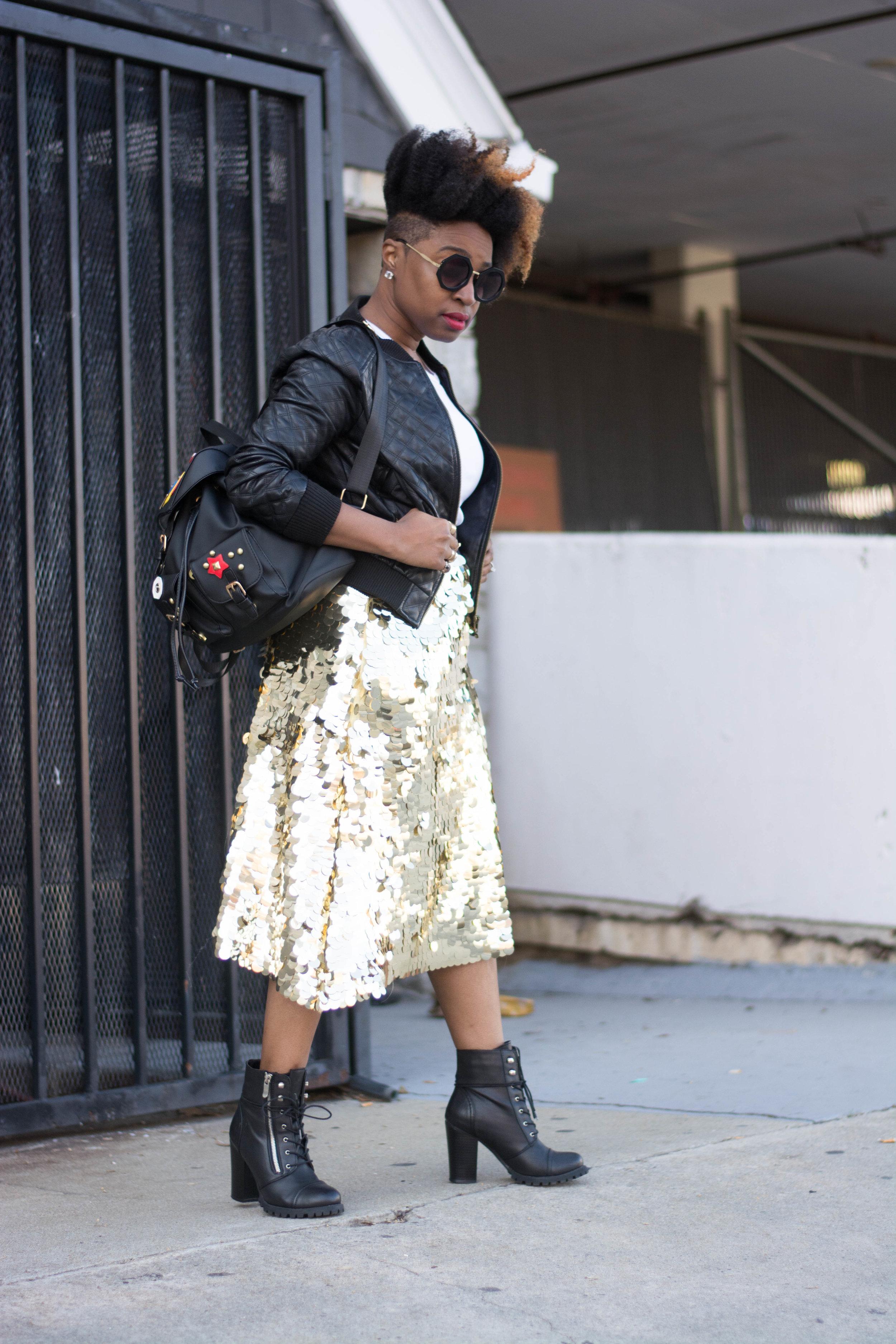 Sequin Skirt + Black Booties -
