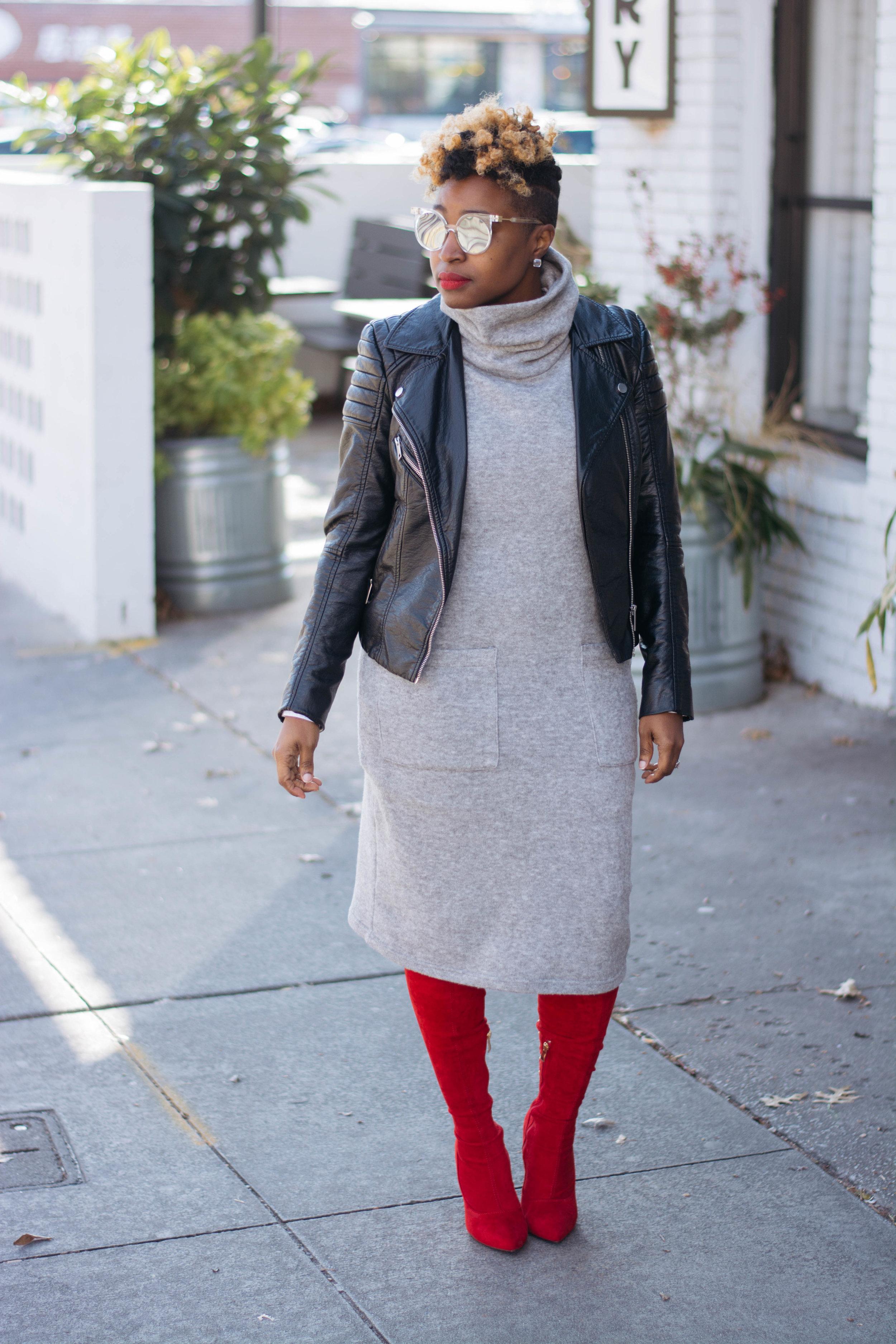 Work Wear - Grey Sweater Dress Red OTK Boots