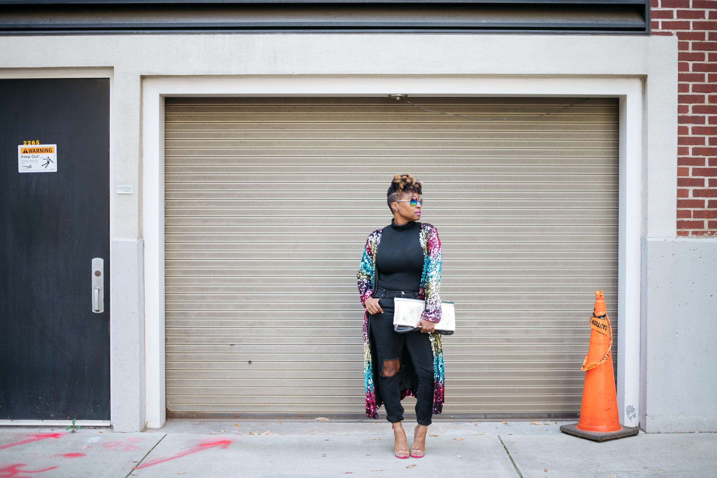 Sequin duster, clear sandals, atlanta personal stylist