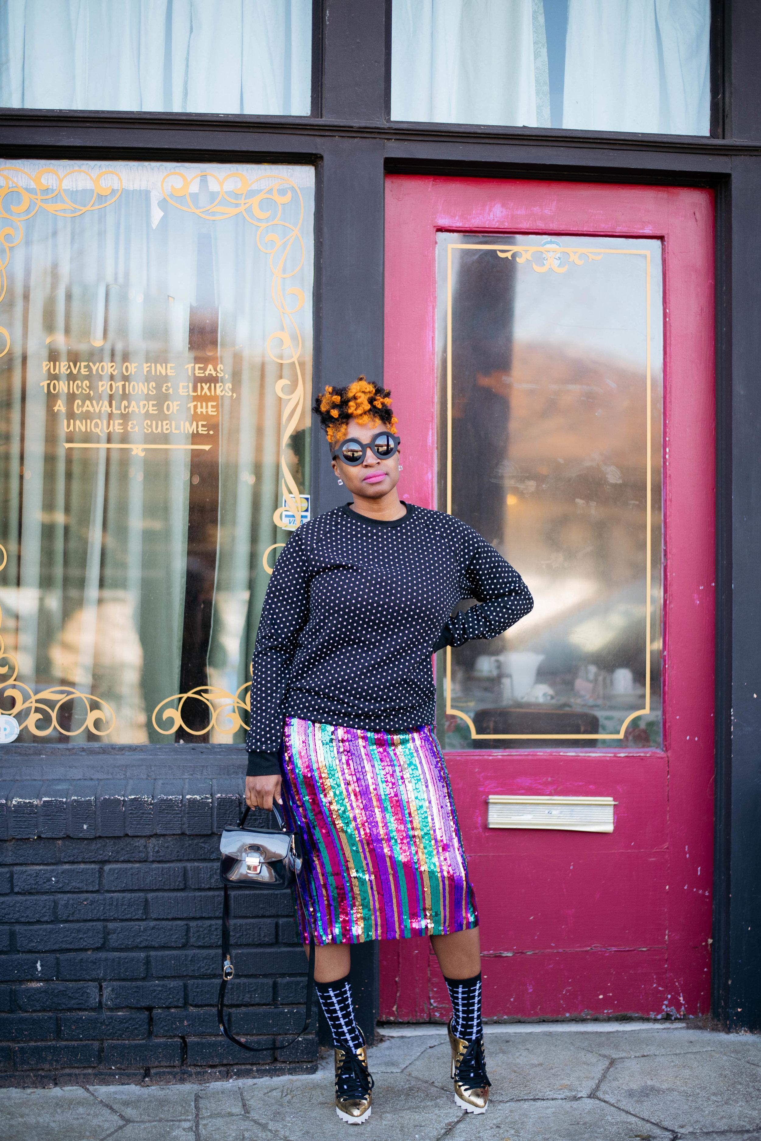 Sequin Skirt + Polka Dot Sweatshirt, Atlanta top blogger, Atlanta personal shopper