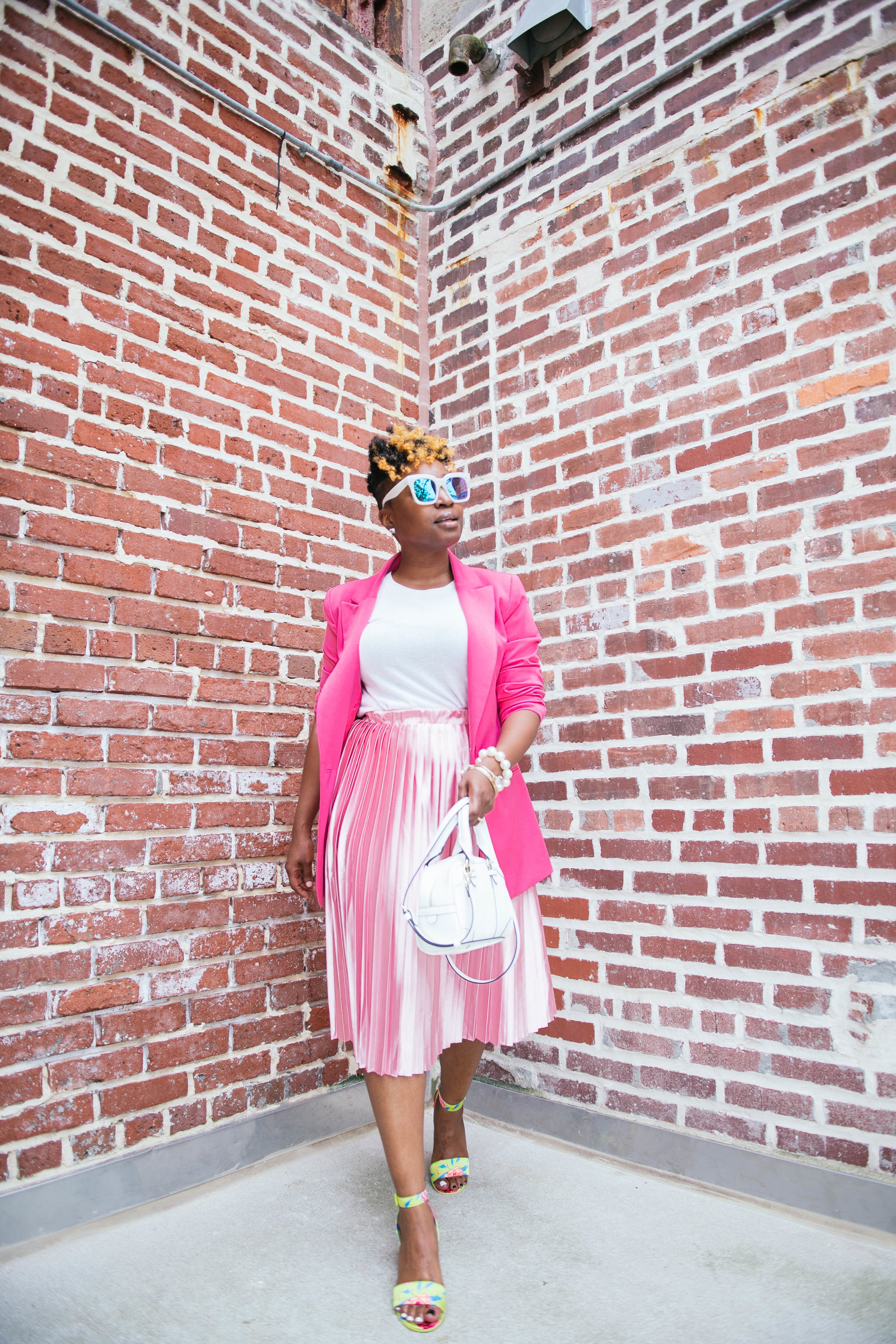 pink blazer, pink pleated skirt, Atlanta personal stylist, Top Atlanta blogger, melodiestewart.com