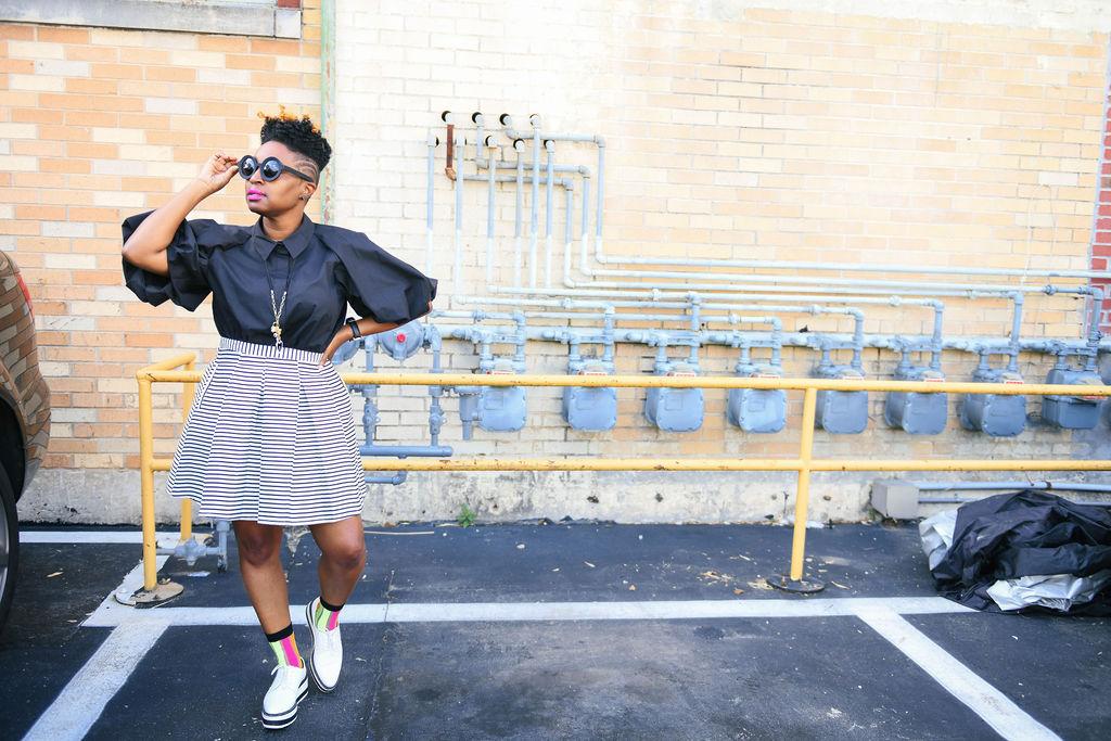 black and white mini skirt, Top Atlanta blogger, Atlanta personal stylist, melodiestewart.com