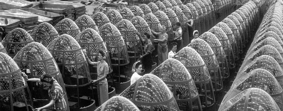 Women workers groom lines of transparent noses for the A-20J attack bombers at Douglas Aircraft's in Long Beach, California, in October of 1942.    (  AP Photo/Office of War Information)