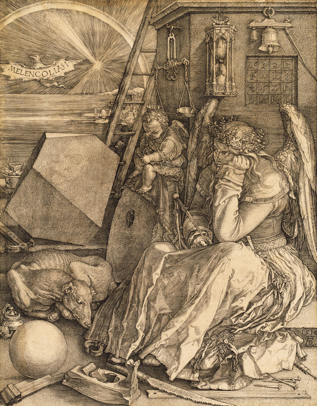 This woodcut, the Melancholia 1 by Albrecht Dürer, has vexed many art historians with its esoteric and mysterious images.  Yet, we know that Dürer is, in his own way, expressing the angst and pessimism that would surround the shift from the Medieval to the Early Modern world.  This woodcut was finished in 1514, three years before the Reformation's formal shot across the bough of the Roman church