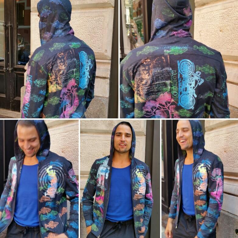 Special order, ONEofaKINd, Wearable art • TommyTees NYC • John Varvados hand printed sweatshirt.