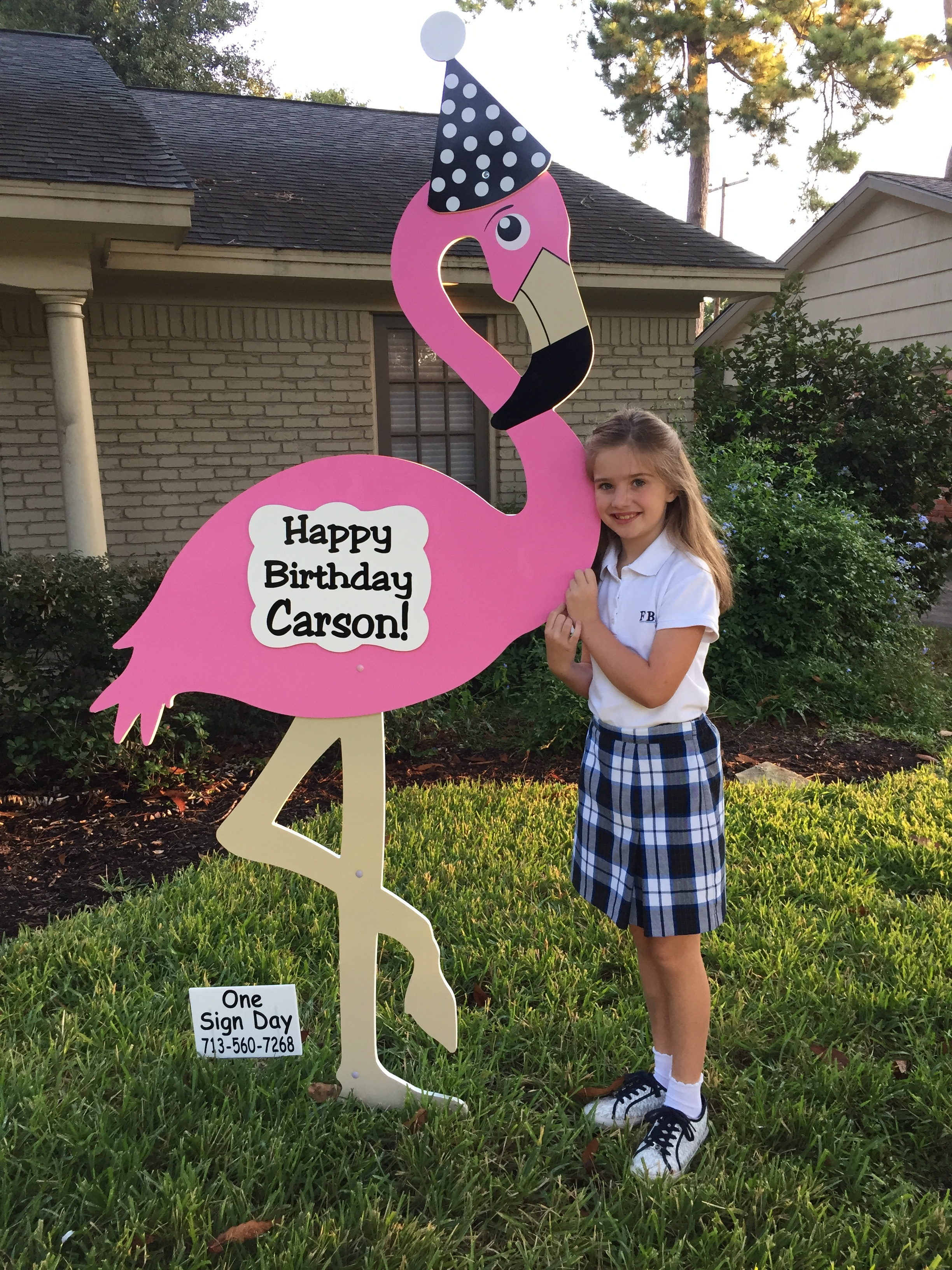 Happy Birthday Flamingo Sign Rental One Sign Day New Baby And Birthday Sign Rentals Houston Texas Area