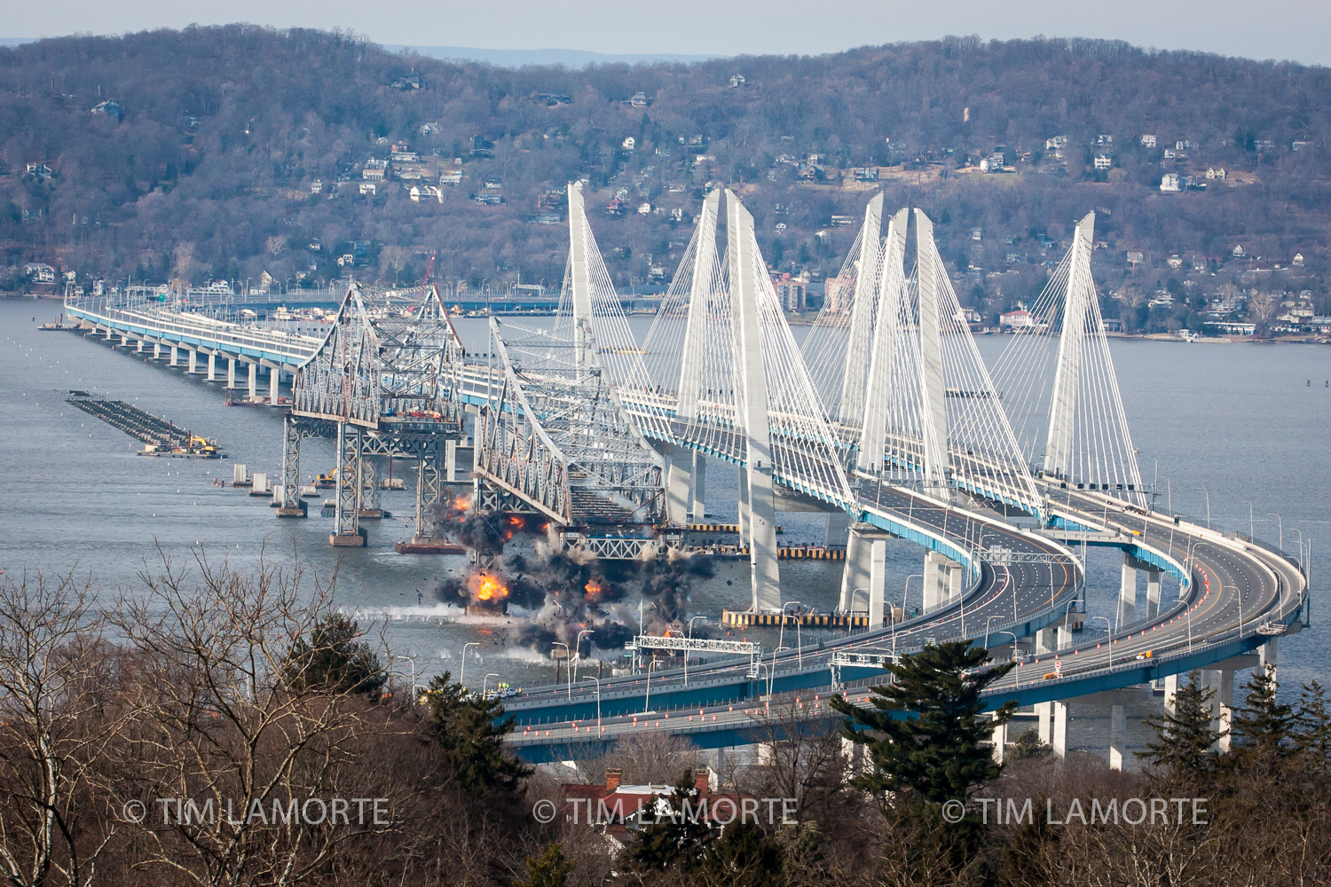 The demolition of the east anchor span as seen from the  Castle Hotel & Spa  in Tarrytown.