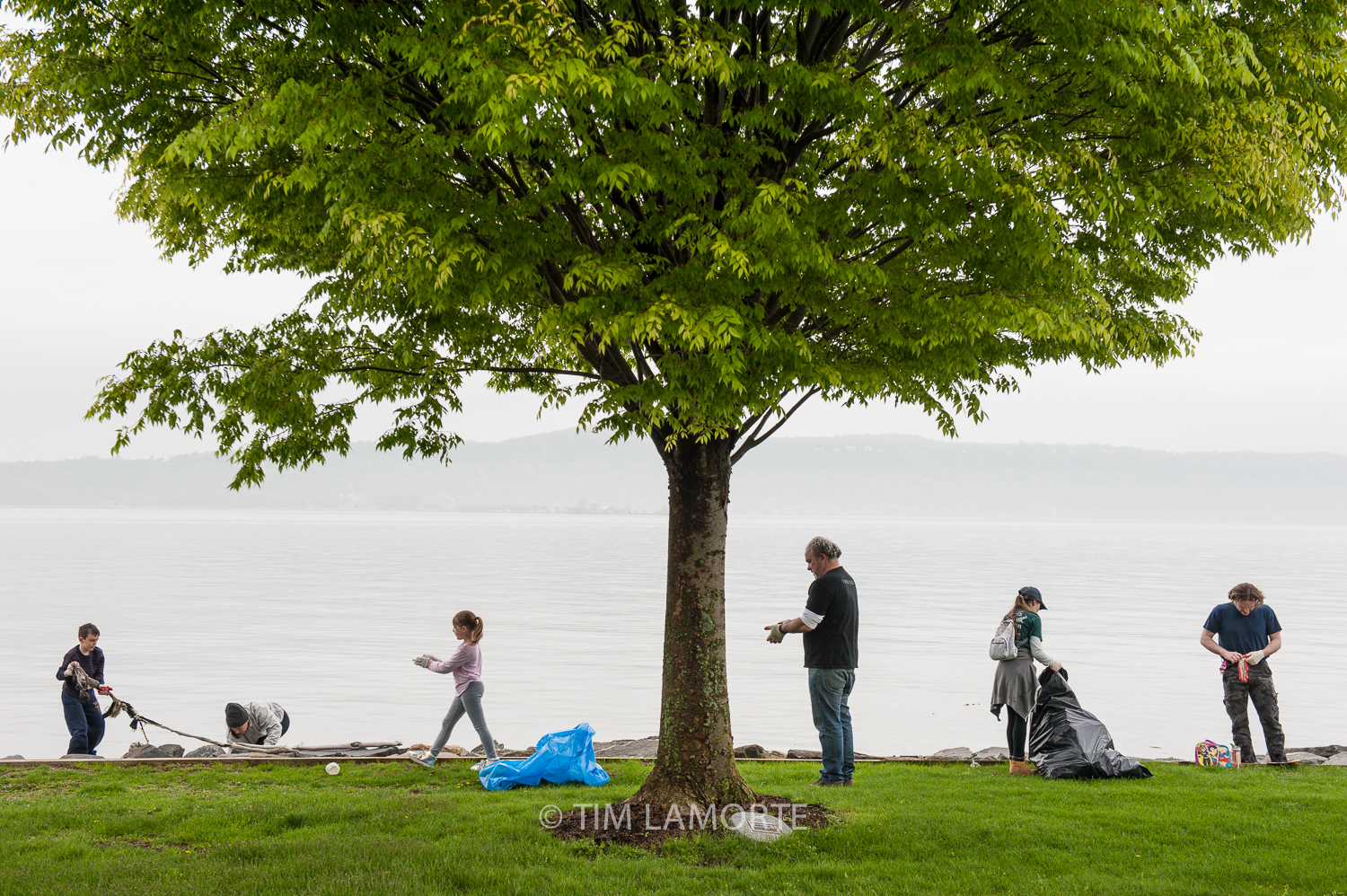 Cameron Brown, Melissa Brown, Ashley Clement, Anthony Grillo, Heather Siani, and Clay Clement at Scenic Hudson Park in Irvington, N.Y.
