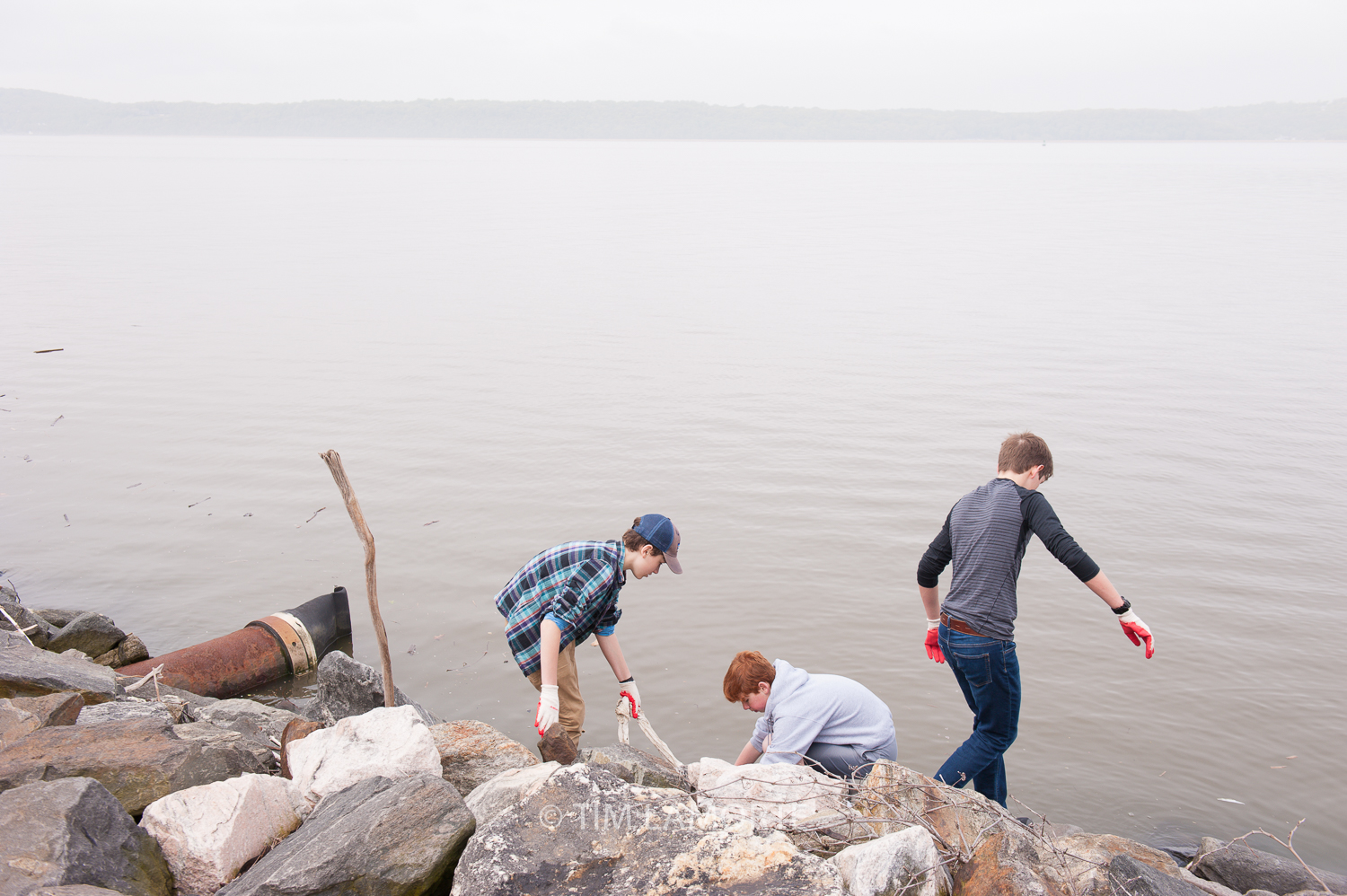 Hudson Svigals, Miles Demarest, and Ryan Carron at Scenic Hudson Park in Irvington, N.Y.