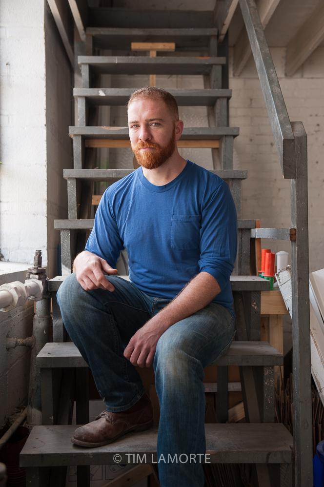 Connor McGinn  at his studio in Tarrytown