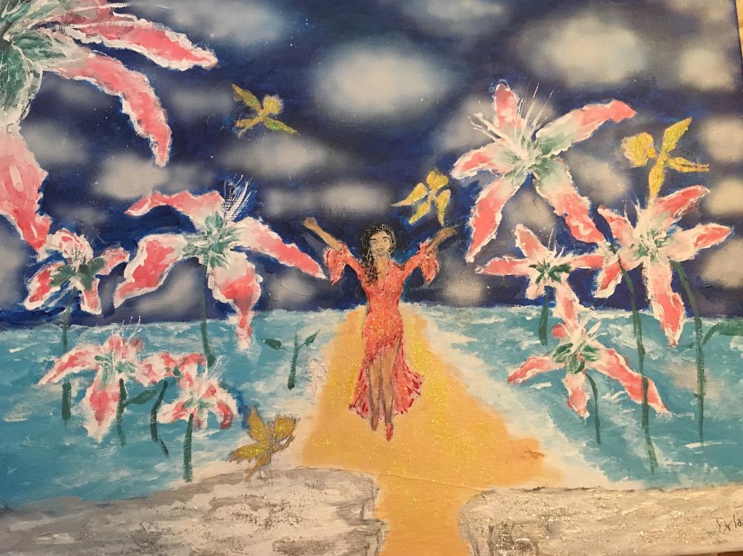 La Madri Love Profusion 20 x 16 Acrylic and Aribrush on Canvas