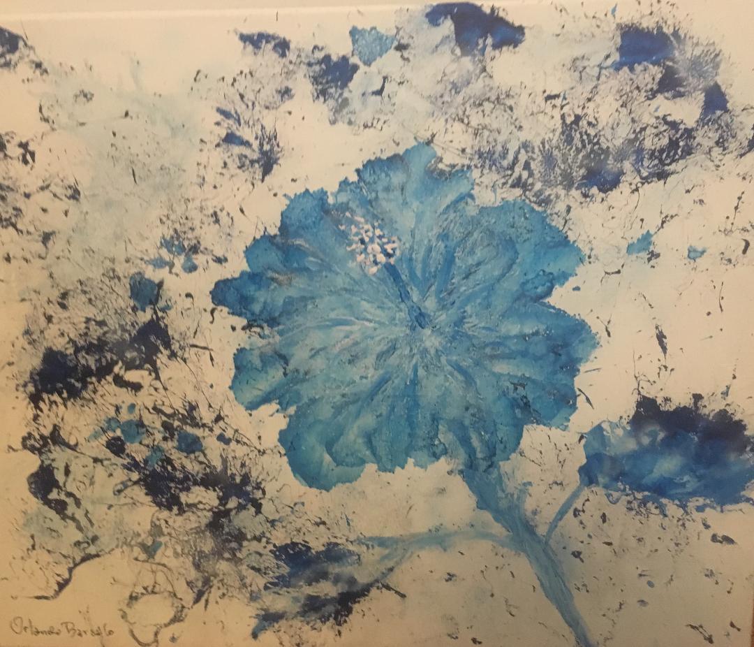 El Papo Hibiscus 20 x 16 Airbrush on Canvas
