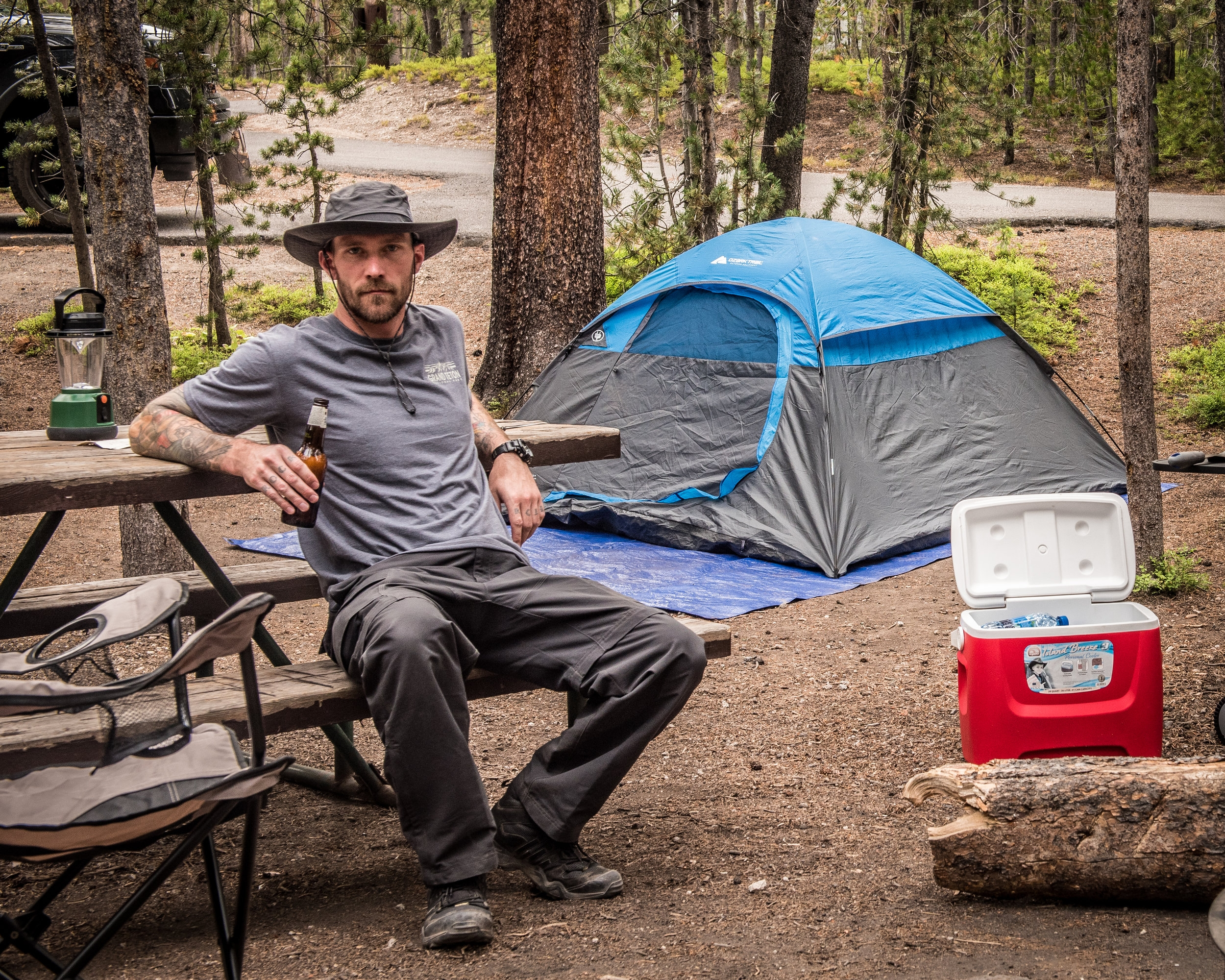 Taking in the moment at a campsite in Yellowstone National Park.