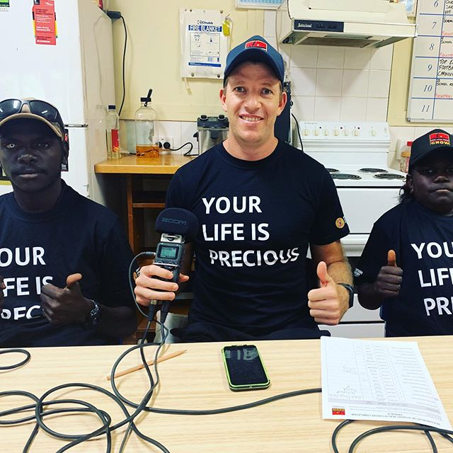 "Gayngarr and Yinitjpi joined Bernie for the latest recording of the Clontarf Footy Show thanks to our friends at Yolngu Radio 📻 . Today the crew donned our ""YOUR LIFE IS PRECIOUS"" t-shirt. We have been getting this message across during each show and will increase our awareness for each school holiday period. Thanks to @nt_health_ for supporting our health program with a grant.  #rirratjingu #yirrkala #indigenous"
