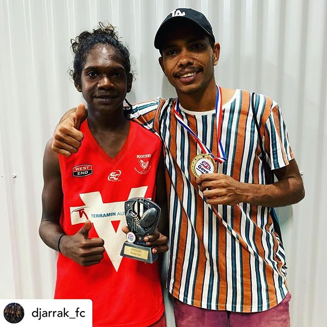 @rirratjingu congratulate our program participants from @djarrak_fc for taking out a number of awards at the Gove AFL 2019 Presentation. At 15, Djamatjama won the Rising Star ⭐️ Award and then we had Lee share the Gary Dhurrkay Medal 🏅 for competition Best & Fairest. #rirratjingu #yirrkala #indigenous