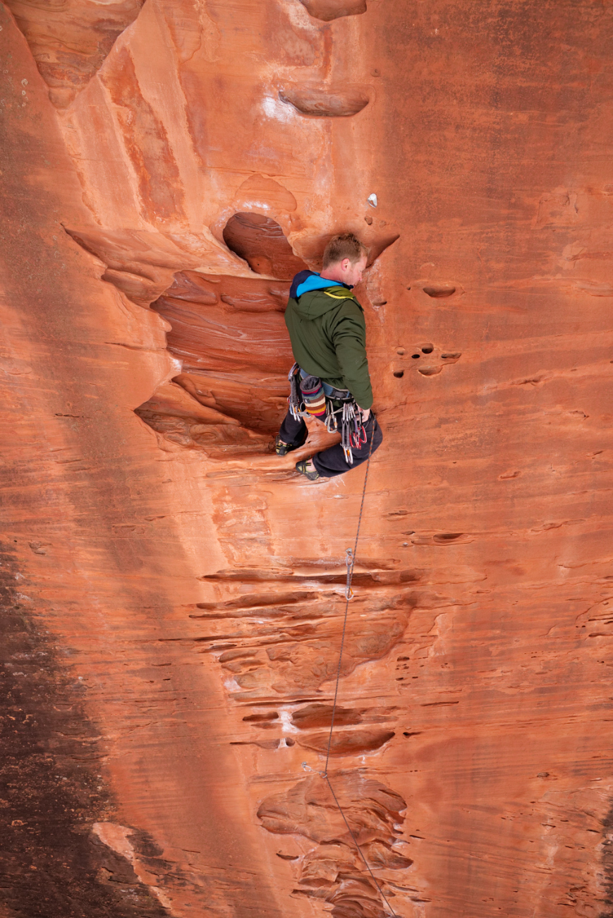 """Friendly Canadian friend taking a rest on """"Dost Mitra"""" (5.11a/b)"""