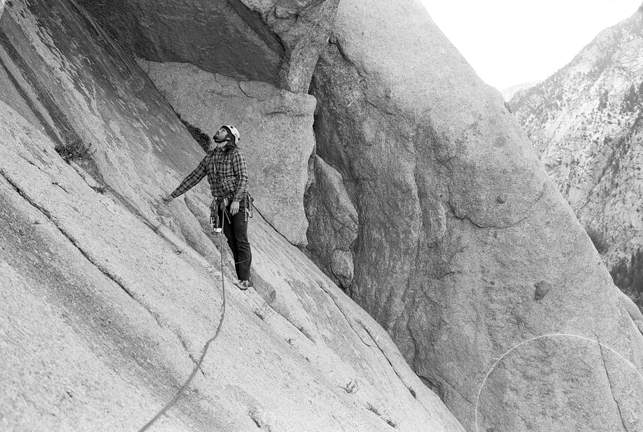 Pitch 3,traverse under a giant granite roof